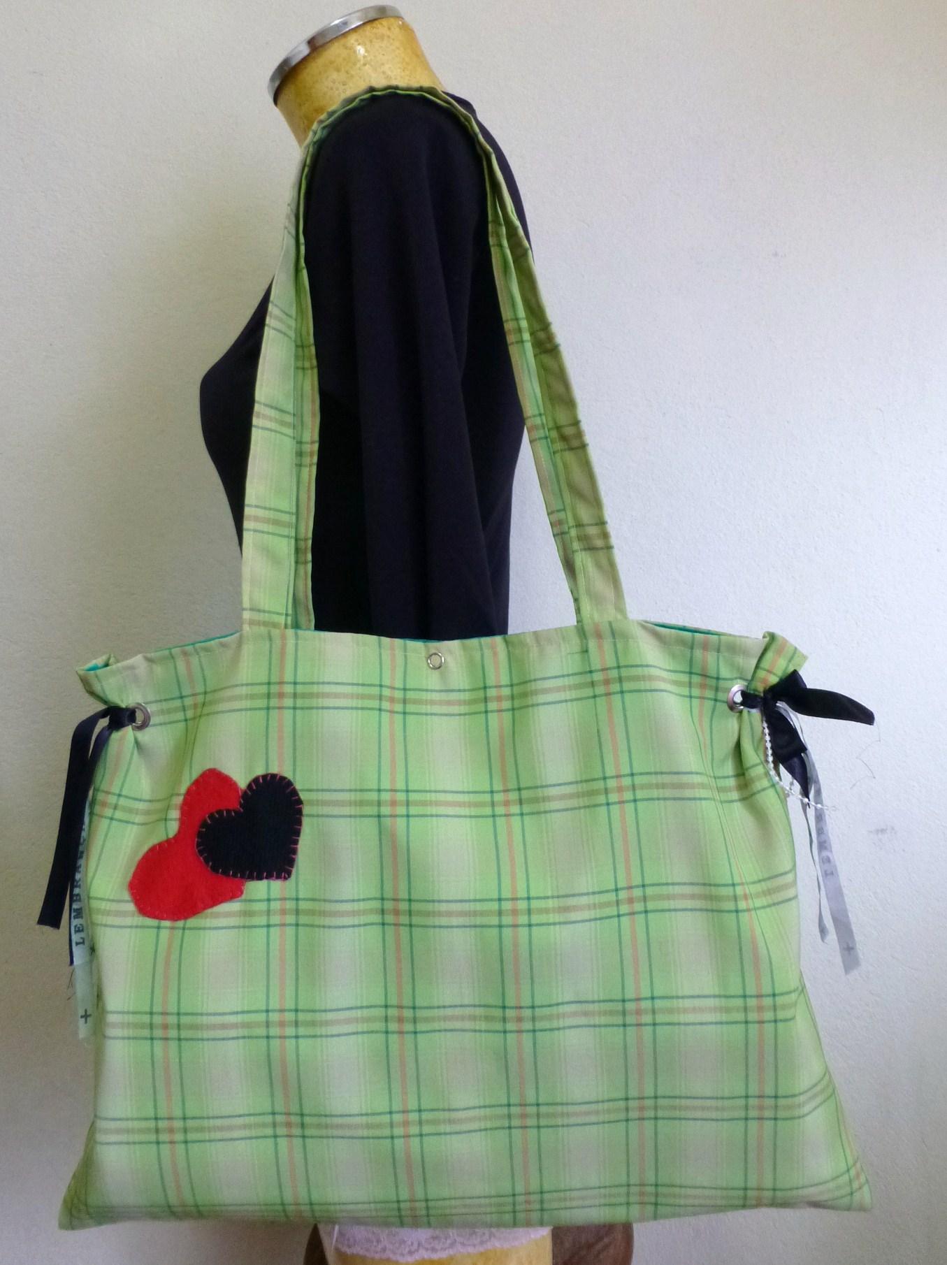 Bolsa De Tecido Quiltada : Bolsa tecido verde xadrez lovely lolla elo