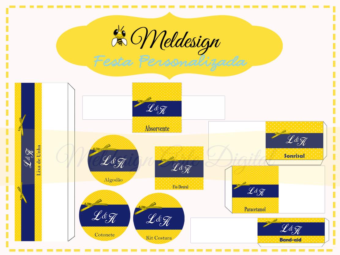 Kit Toilet Amarelo e Azul Poá Mel Design Elo7 #C7A904 1111 833