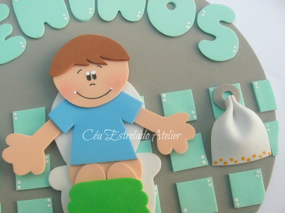 Placa de Porta Banheiro Meninos  Céu Estrelado Atelier  Elo7 -> Decoracao Para Porta De Banheiro Em Eva