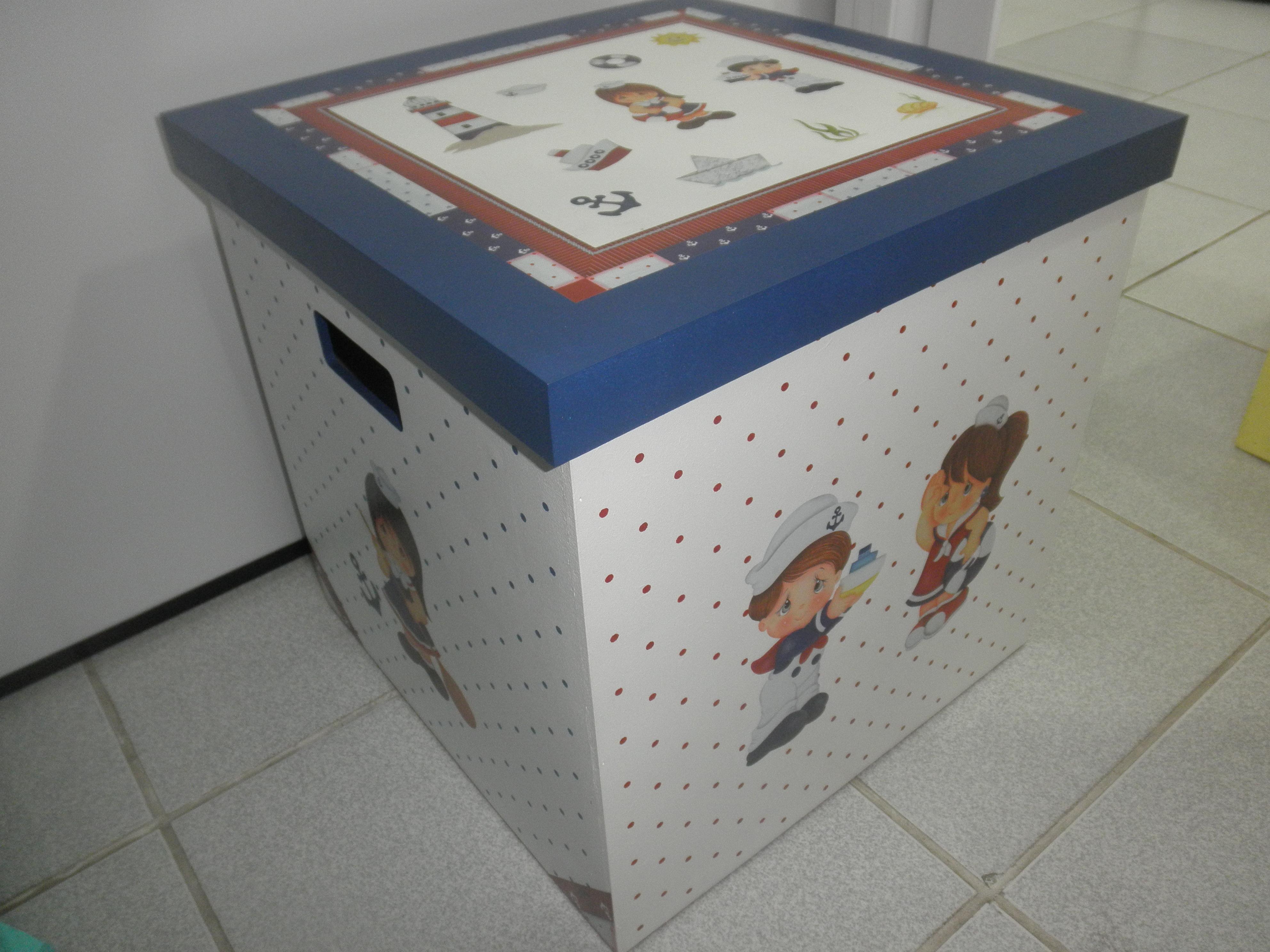 Caixa De Brinquedos Marinheiros Ateliê Ponto e Pincel Elo7 #754C42 3968x2976