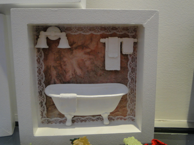 Quadrinho Enfeite Banheiro  Trama da Arte  Elo7 -> Decoracao Ecologica Banheiro