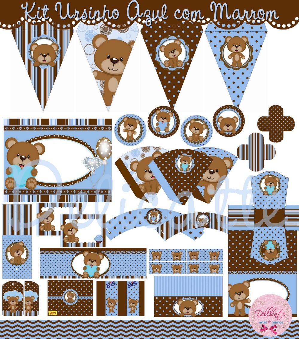 decoracao festa urso azul e marrom:Kit Digital Festa Ursinho Azul e Marrom
