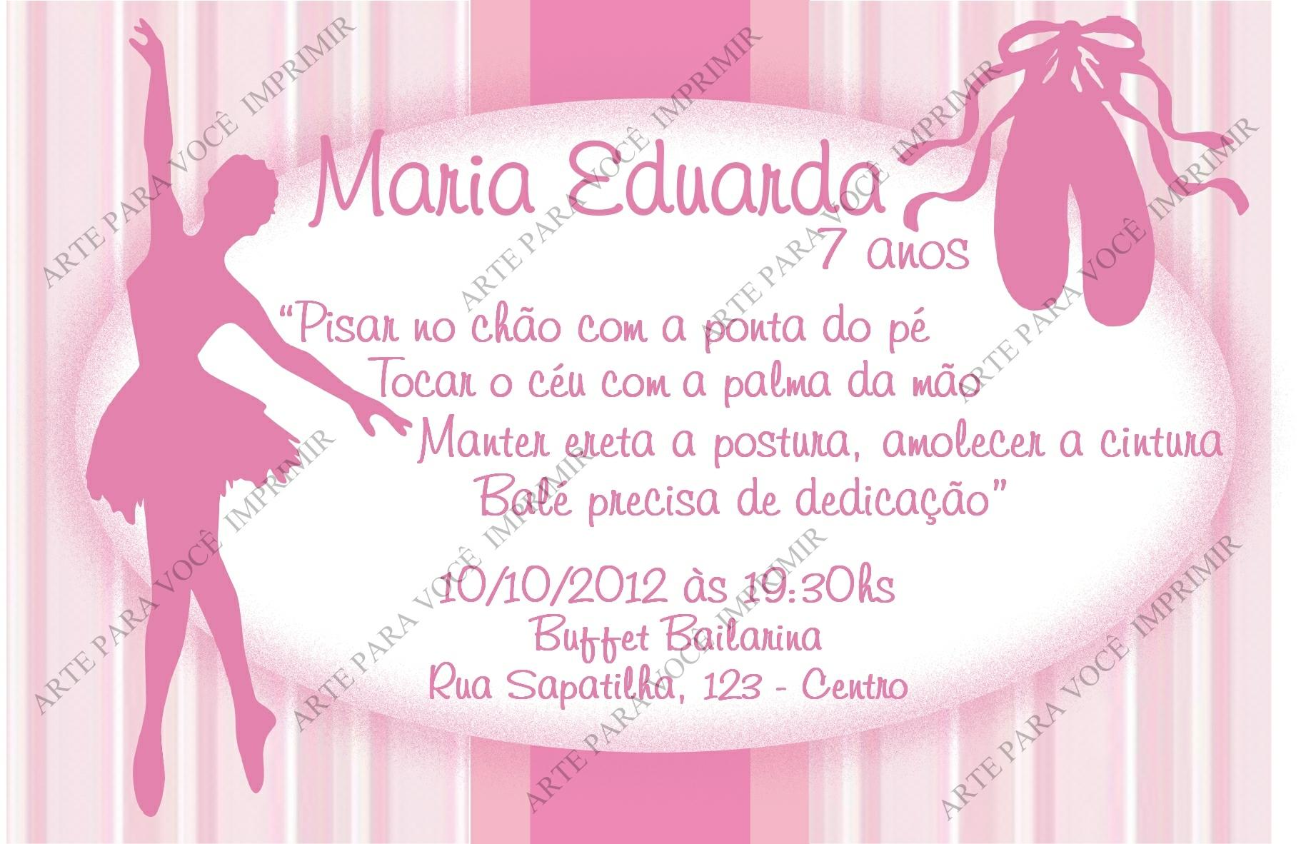 Convite Bailarina Modelo Portal Picture