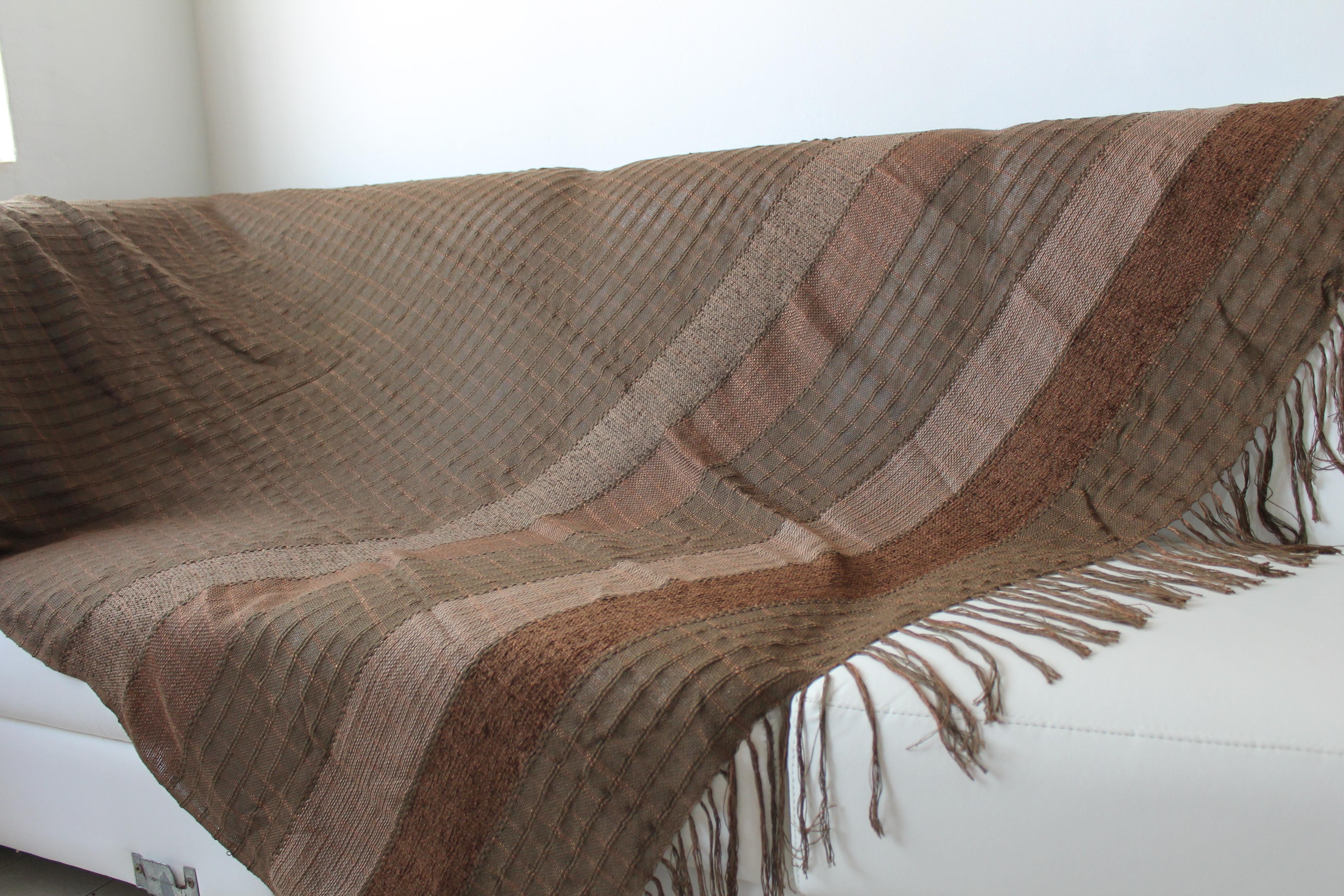 Manta big para sof marron artesanato teares de minas elo7 for Mantas para sofas