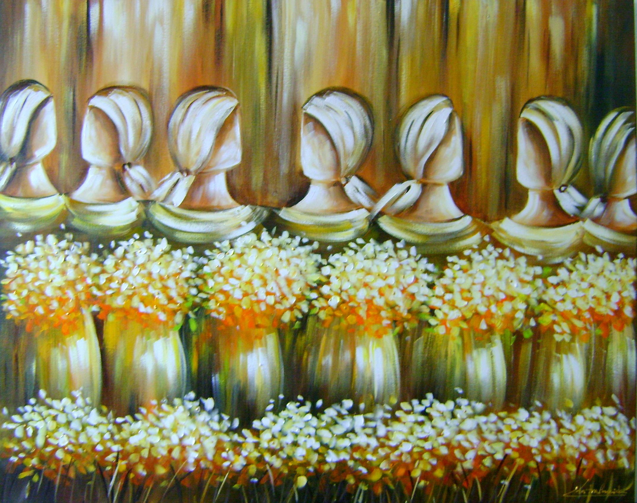 Pintura Em Tela Katia Almeida Floral Abstrato Cubista Releitura