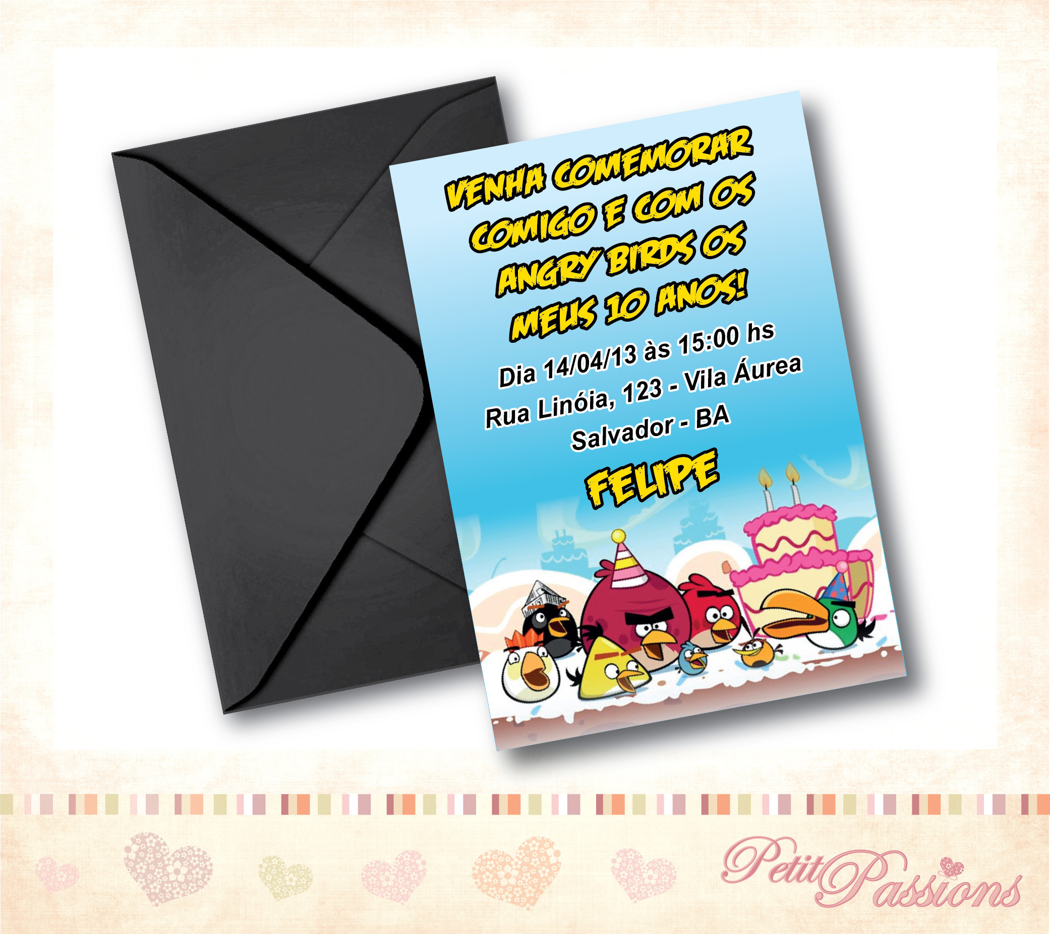 Convite Angry Birds Festa