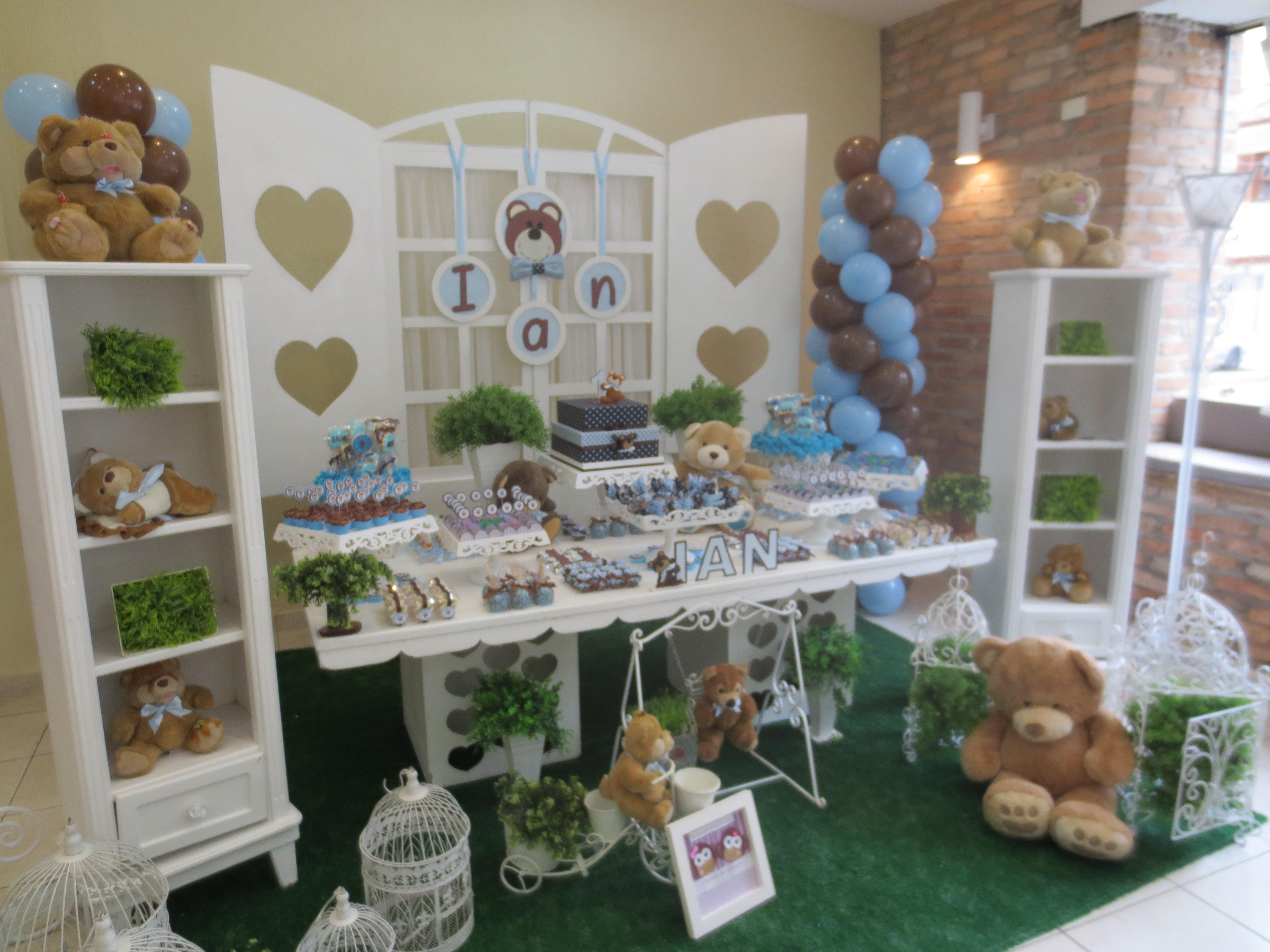 decoracao festa urso azul e marrom: urso marrom e azul festa personalizada urso marrom e azul