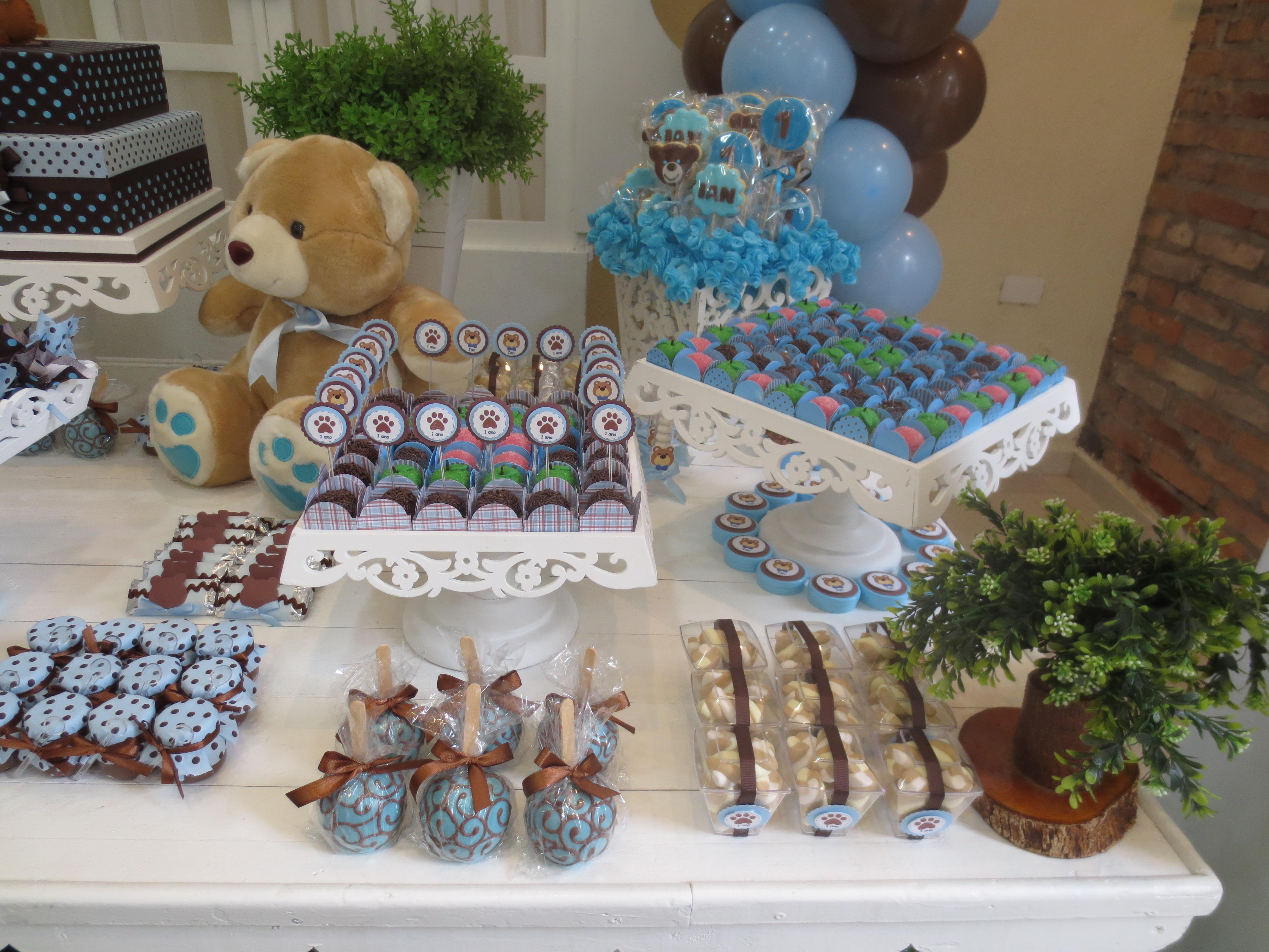 decoracao festa urso azul e marrom: -urso-marrom-e-azul festa-personalizada-urso-marrom-e-azul