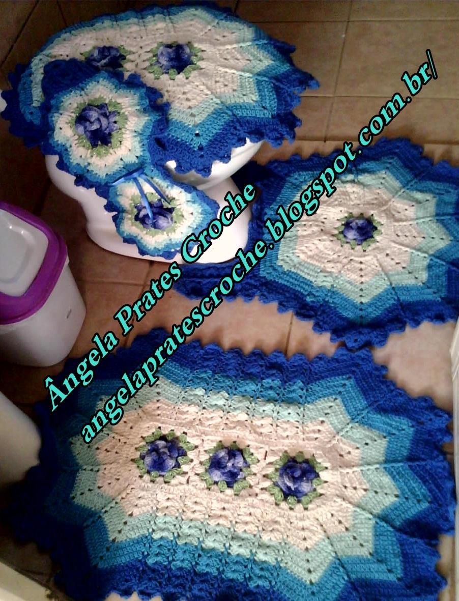 Jogo De Banheiro Azul Em Croche : Jogo de banheiro em tons azul ?ngela prates croch? elo