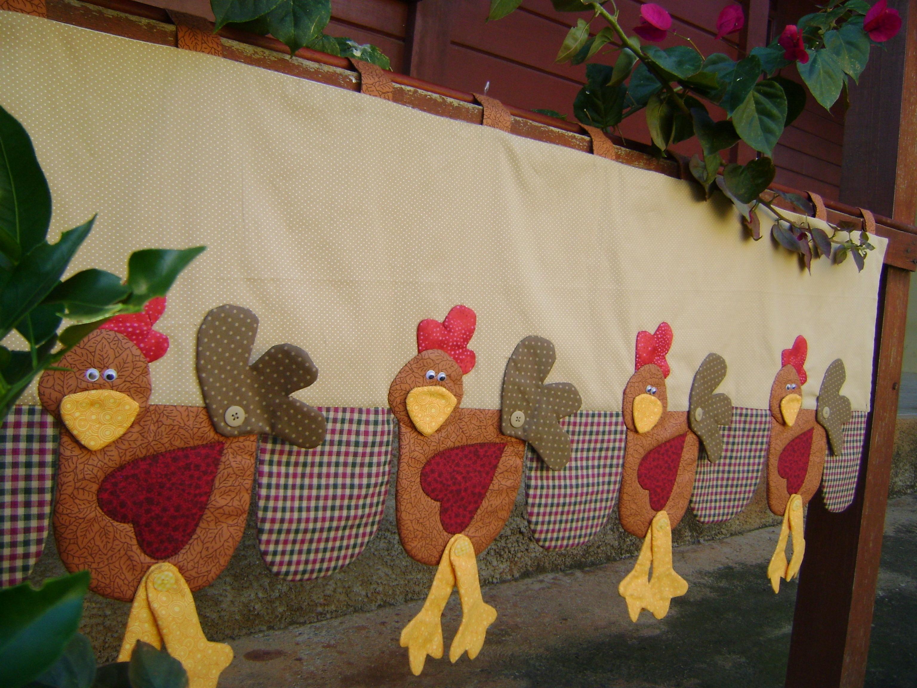 Bandô de cortina com galinhas country  ARTES DA ZECOTA  Elo7