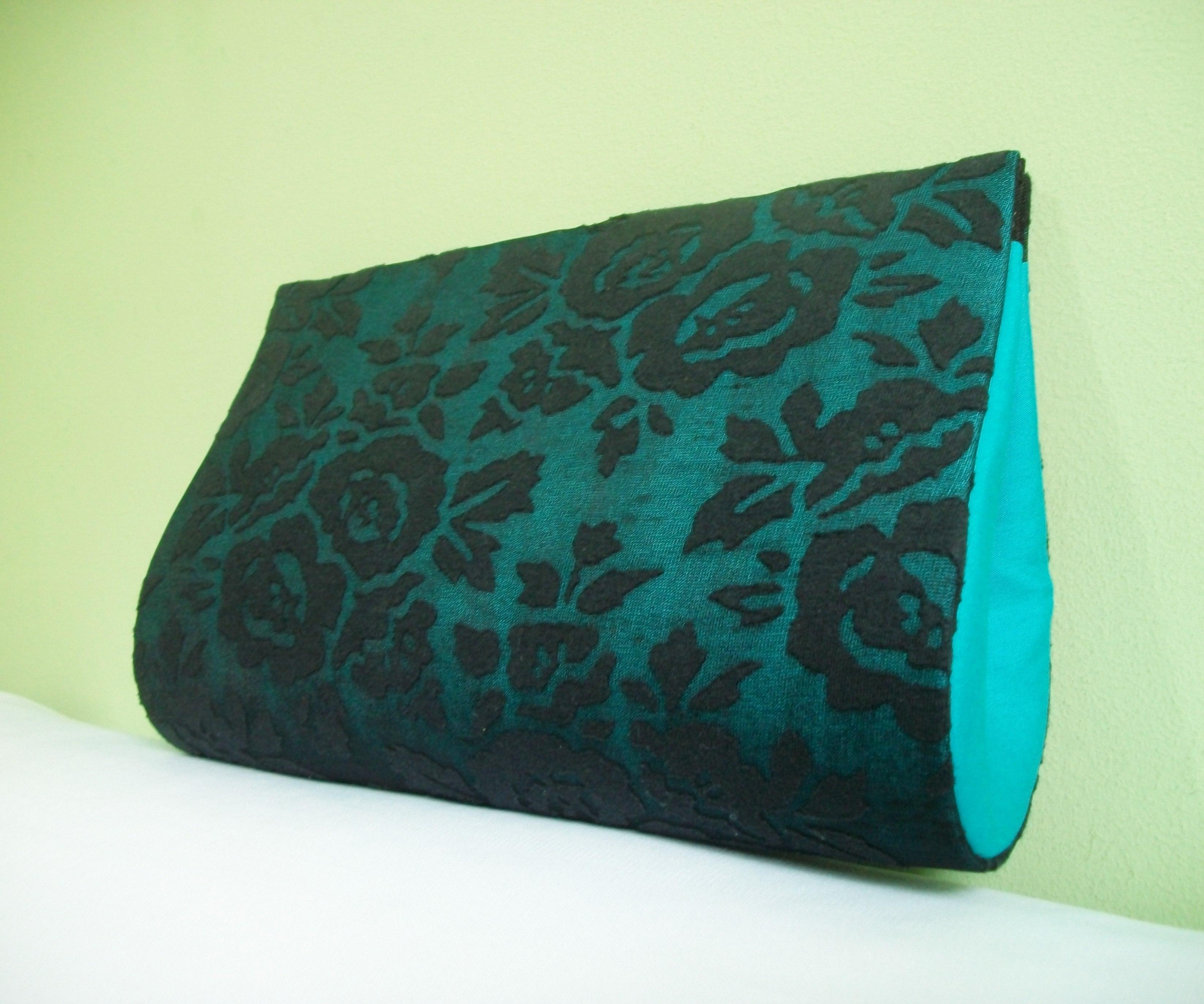 Bolsa De Mao Turquesa : Bolsa clutch azul turquesa c renda preta oficina de arte