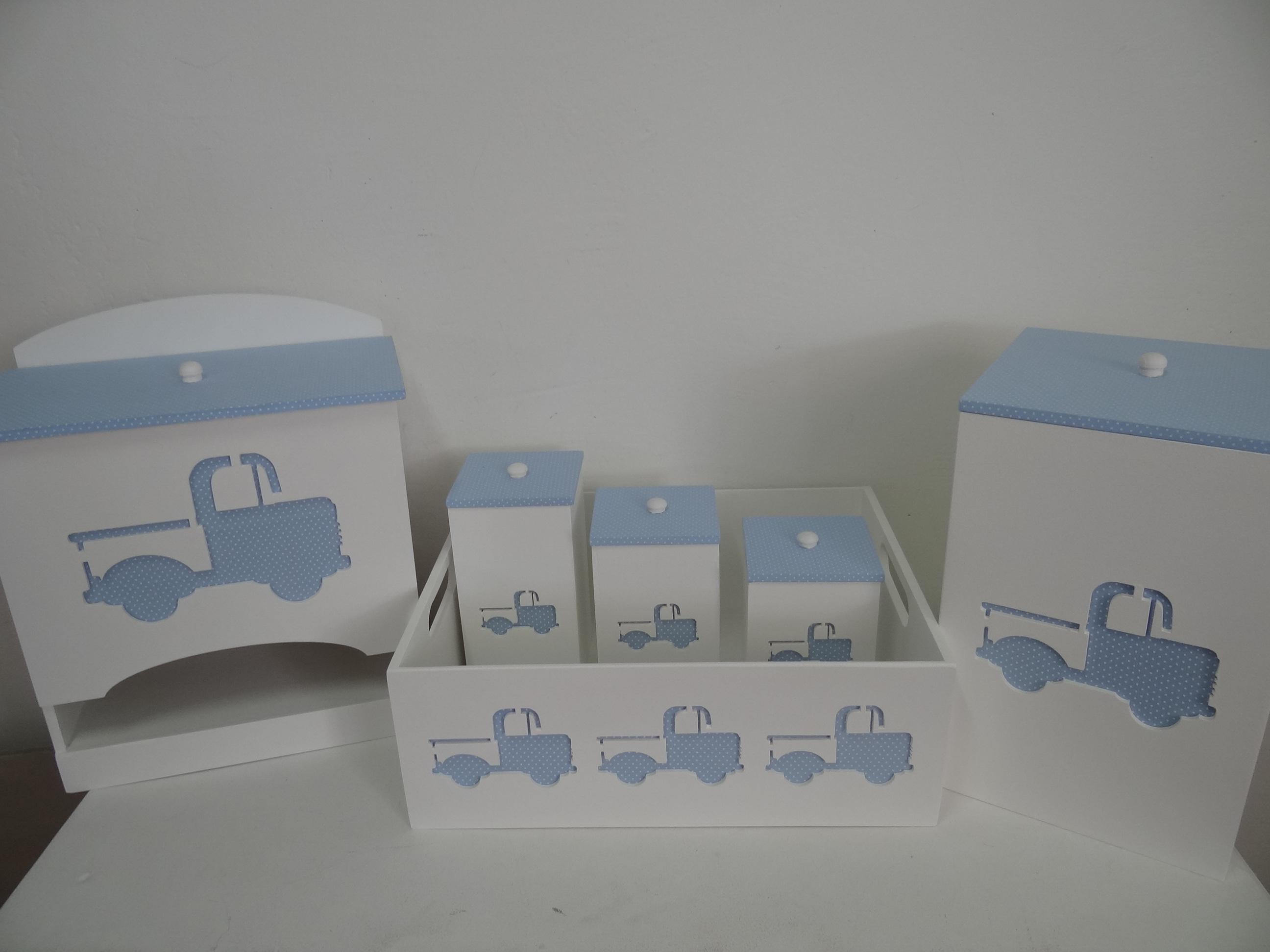 Kit Higiene Para Bebe Menino Azul Caixa Madeira Mdf Passa Fitas C 034