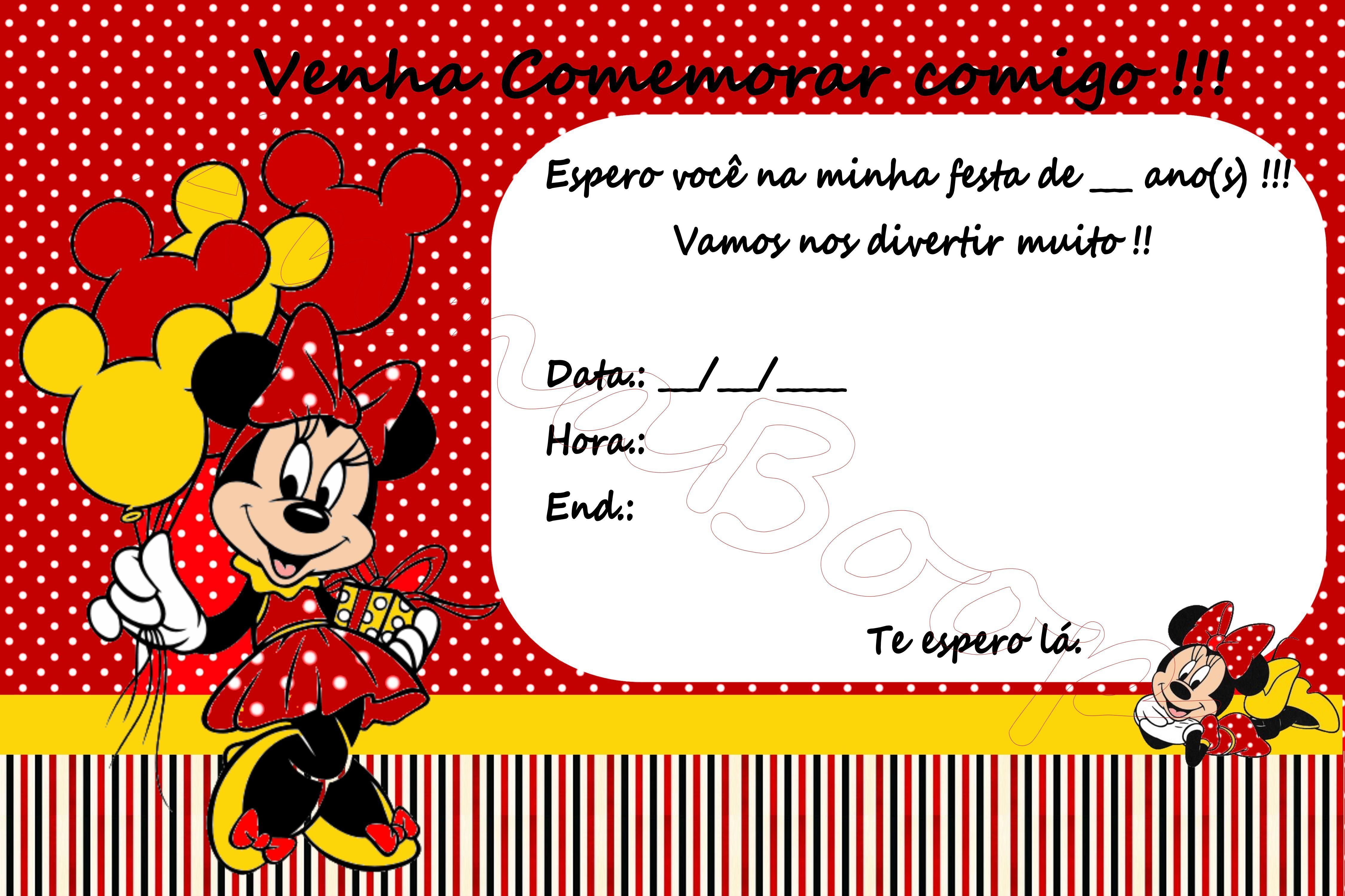 Convite Minnie vermelha digital 01