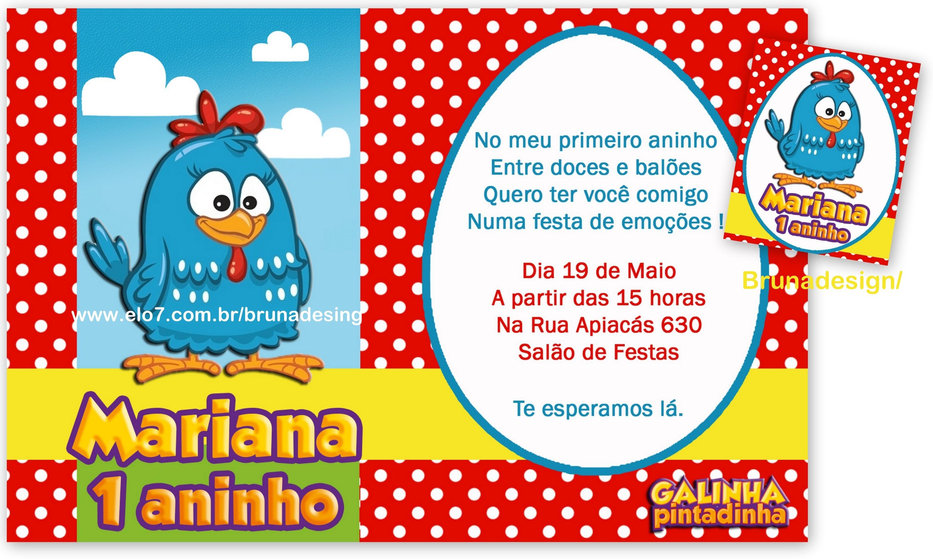 Convite Galinha Pintadinha Bruna Design Elo7