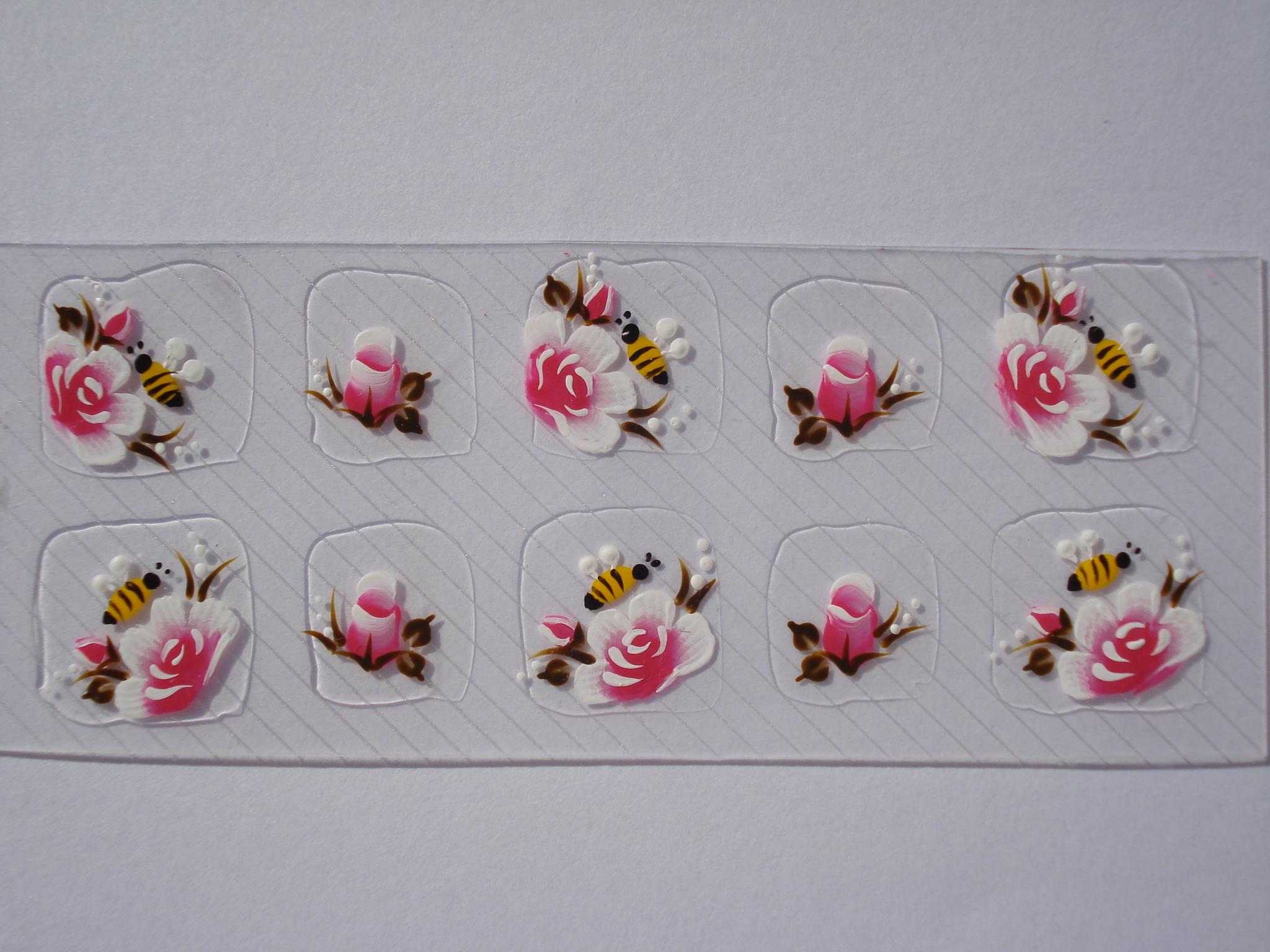 Adesivos Para Unhas Rosas   Abelha