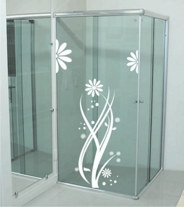 adesivo para box banheiro flores casa adesivo para box banheiro flores #5D6C6E 2751x3085 Adesivo Blindex Banheiro