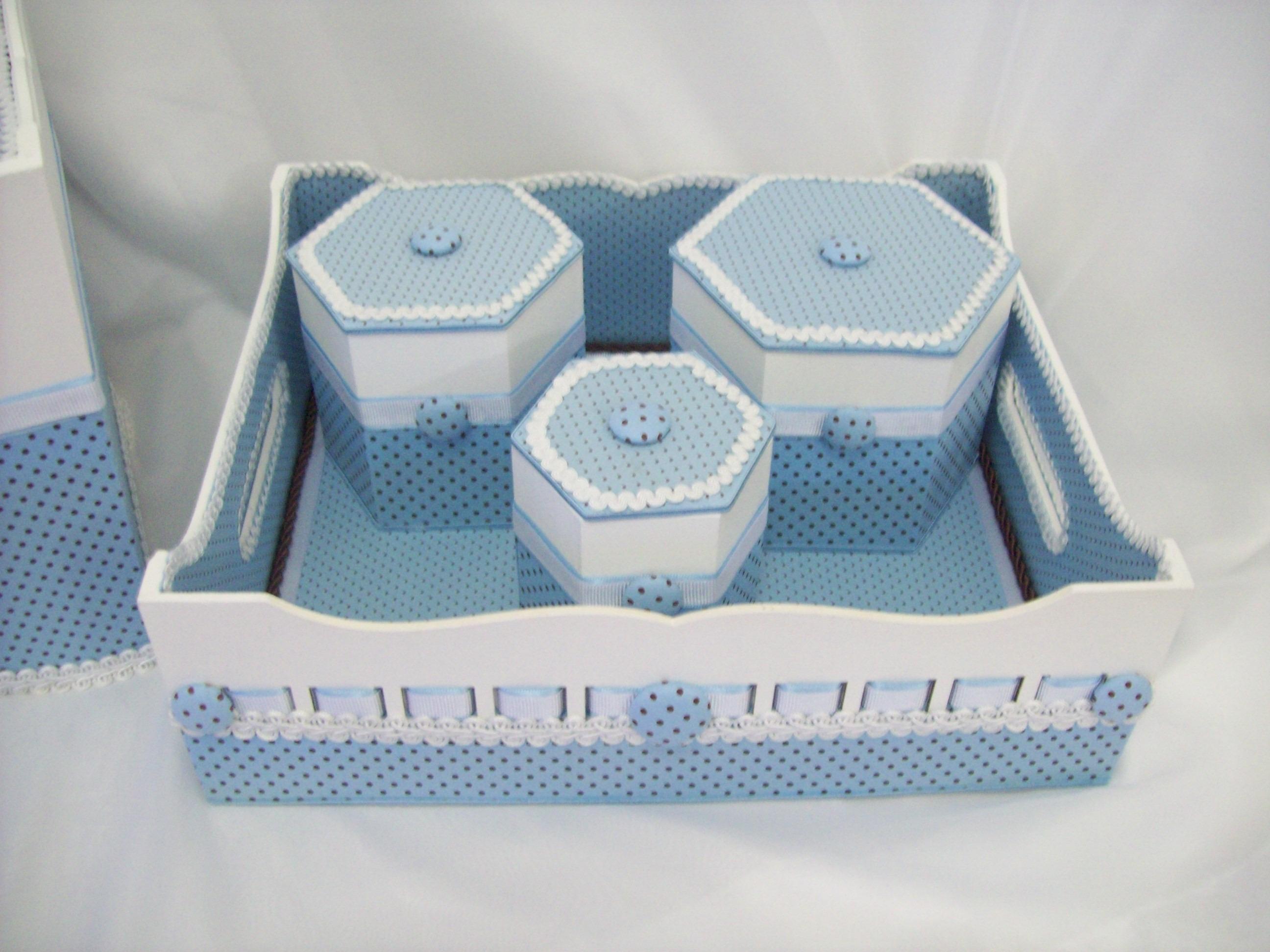 Kit Higiene Para Bebe Menino Azul Caixa Madeira Mdf Passa Fitas C 034 ...