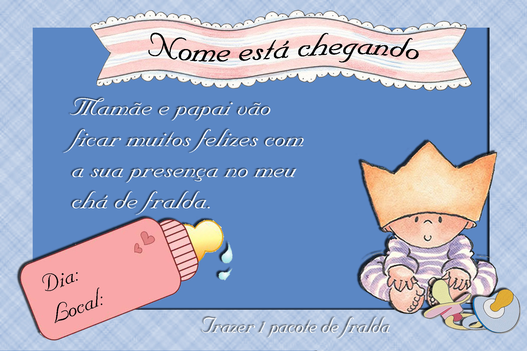 Convite Chá De Bebê Ou Fralda Convite Chá De Bebê Ou Fralda