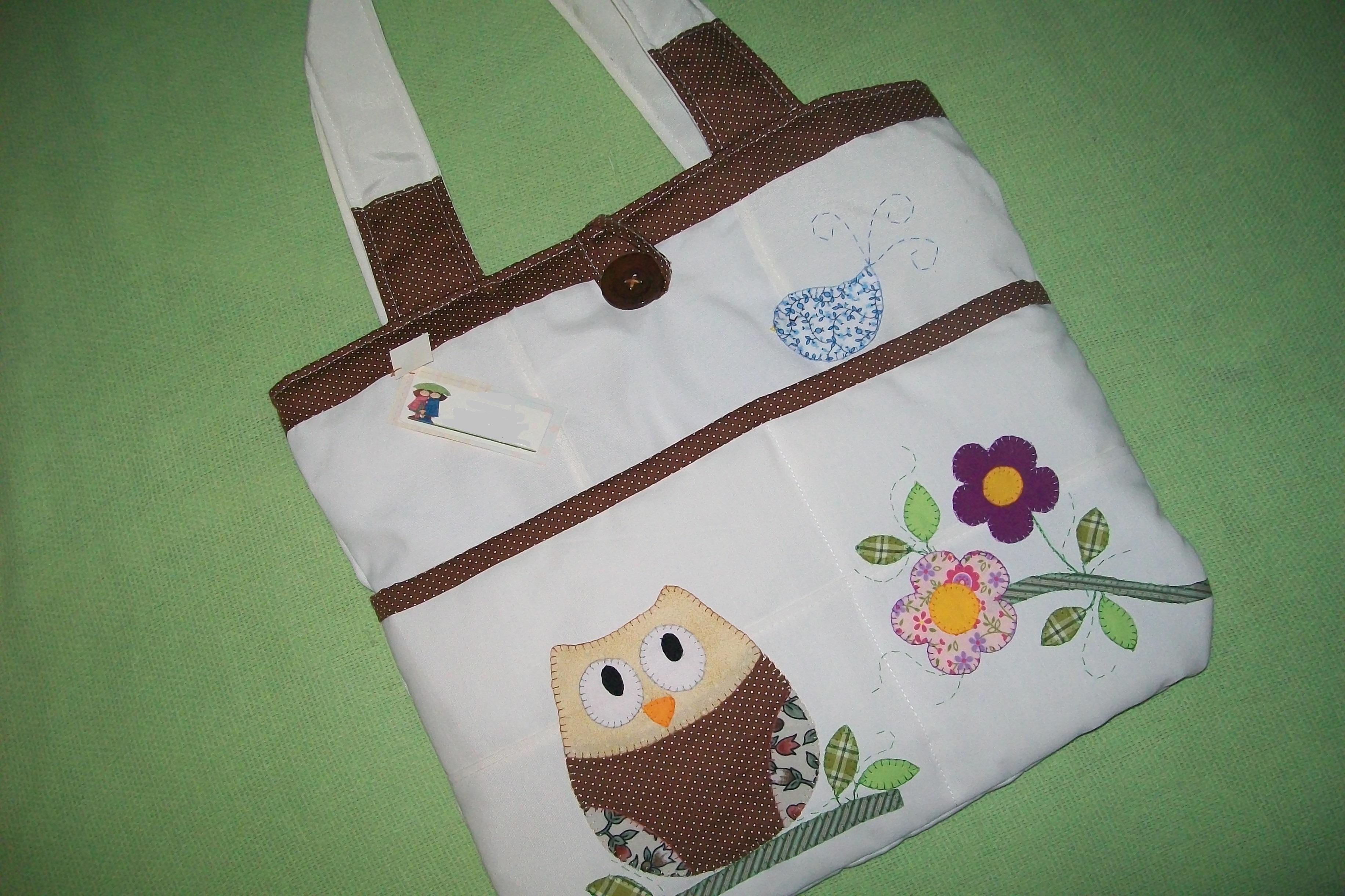 Bolsa De Tecido Decorada Com Coruja : Bolsa de tecido coruja meu cantinho artesanato elo