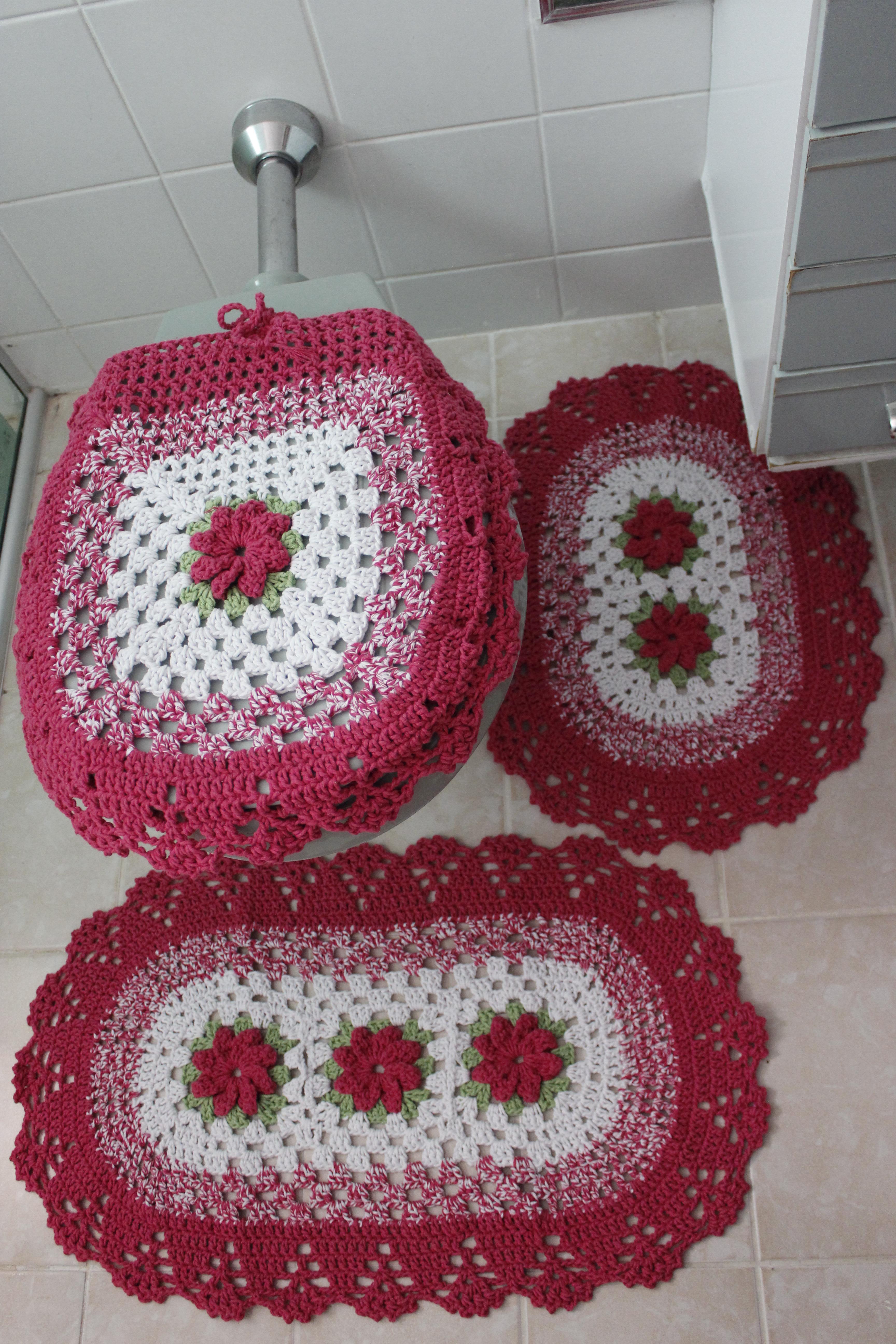 Jogo de Banheiro  3 Peças  Atelie Pontos e Laçadas  Elo7 -> Jogo De Banheiro Simples Em Croche Com Grafico