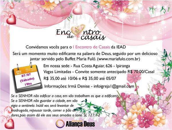 Convite Digital Encontro de Casais | Cantinho das Lembrancinhas e ...