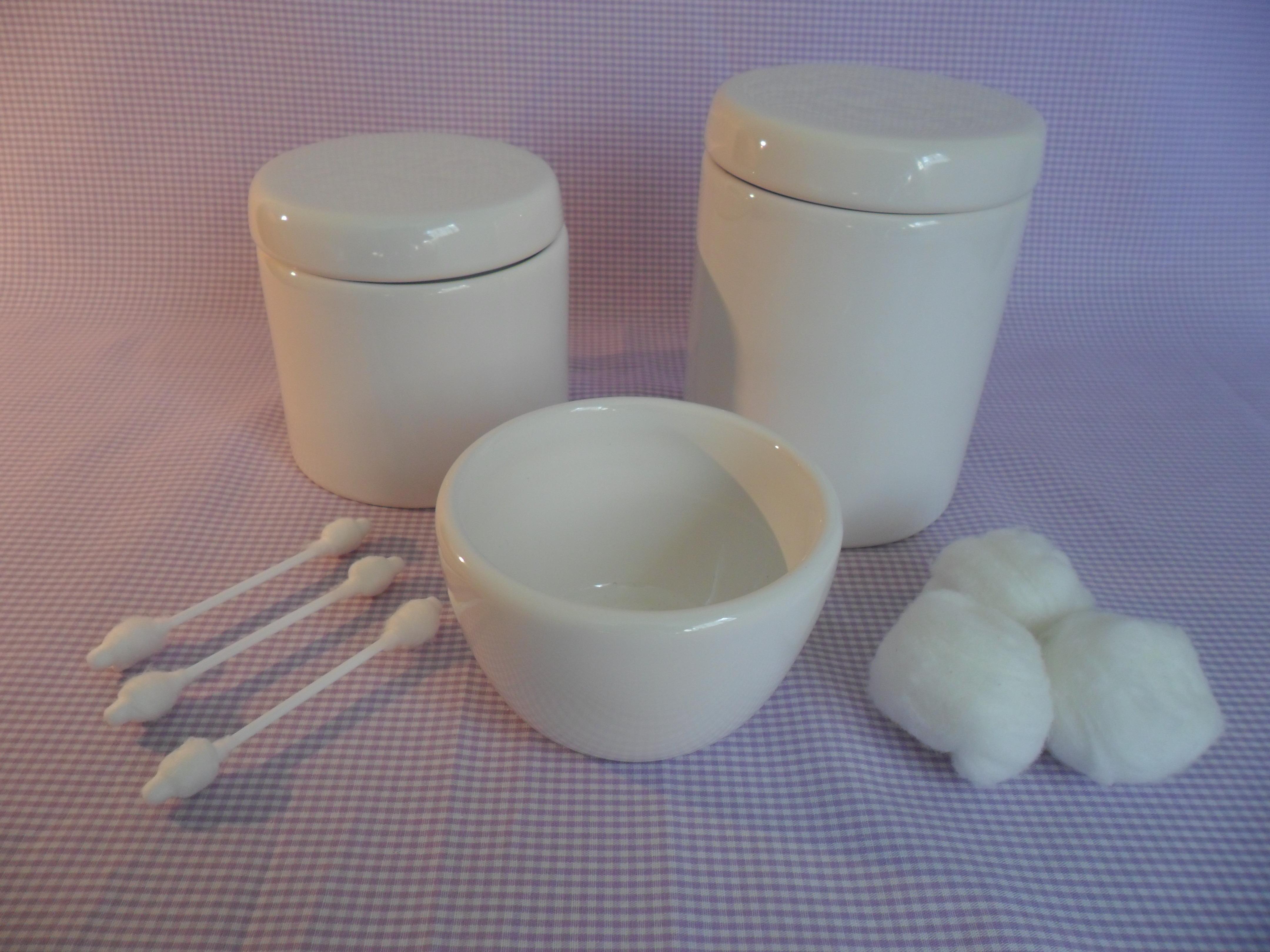Trio De Potes Em Porcelana Branca Nick Baby Elo7 #7C5C4F 4320 3240
