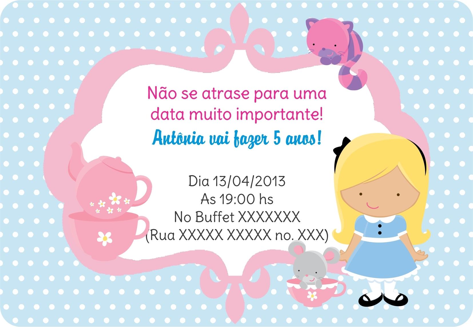Alice In Wonderland Invitations Free Template with good invitation design