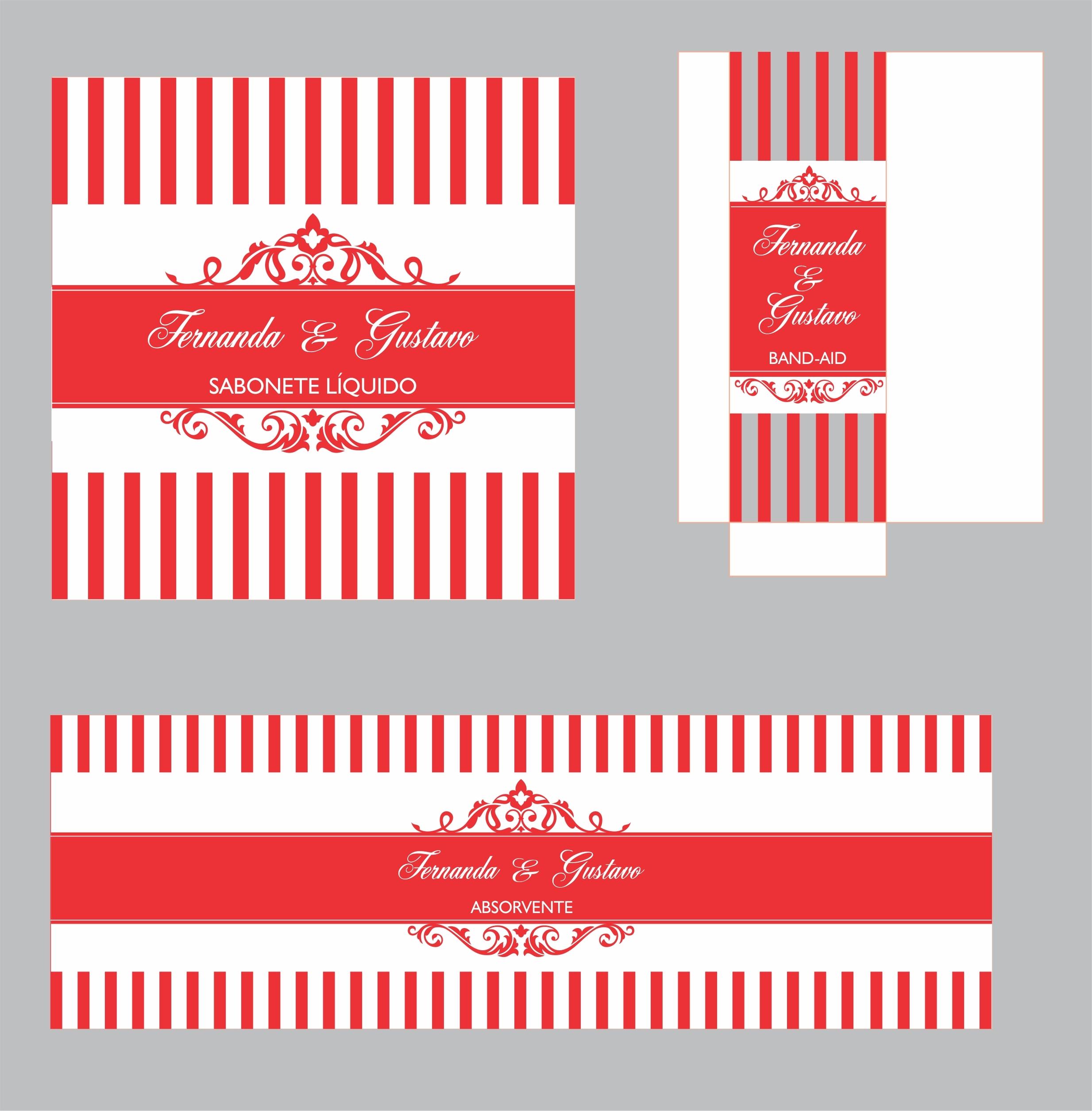 Kit De Banheiro Vermelho E Branco : Kit toalete casamento r?tulos vermelho ulicor artes elo