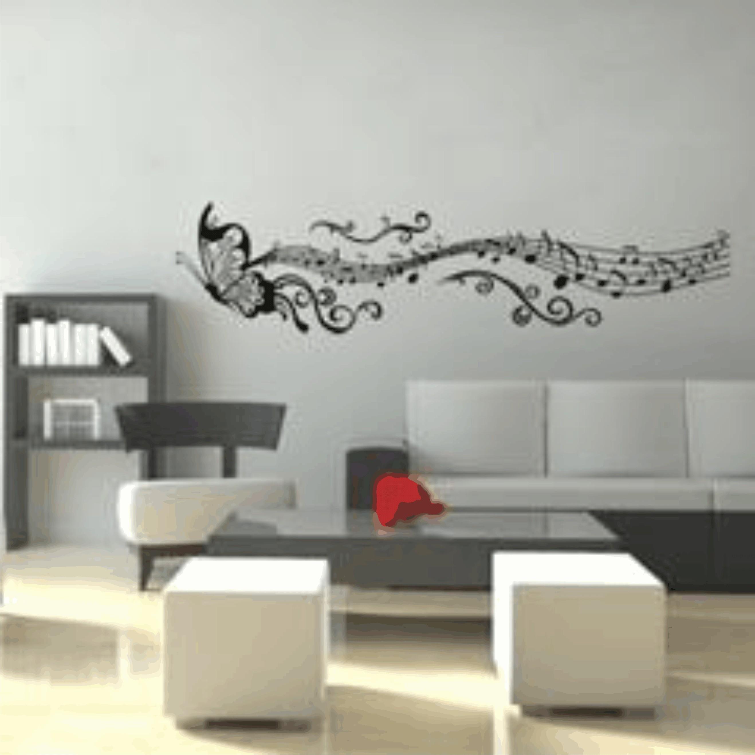 Loja Material Artesanato Jundiai ~ Adesivo Parede borboleta notas musicais Adesivos de