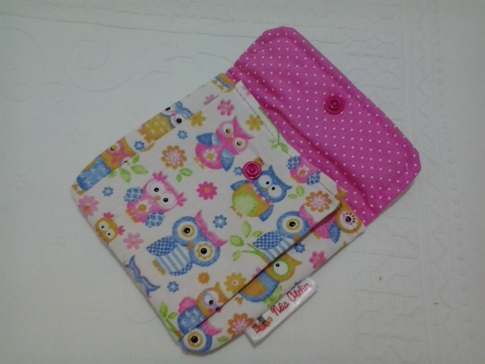 Porta absorvente corujinhas rosa n ia atelier elo7 for Porta assorbenti