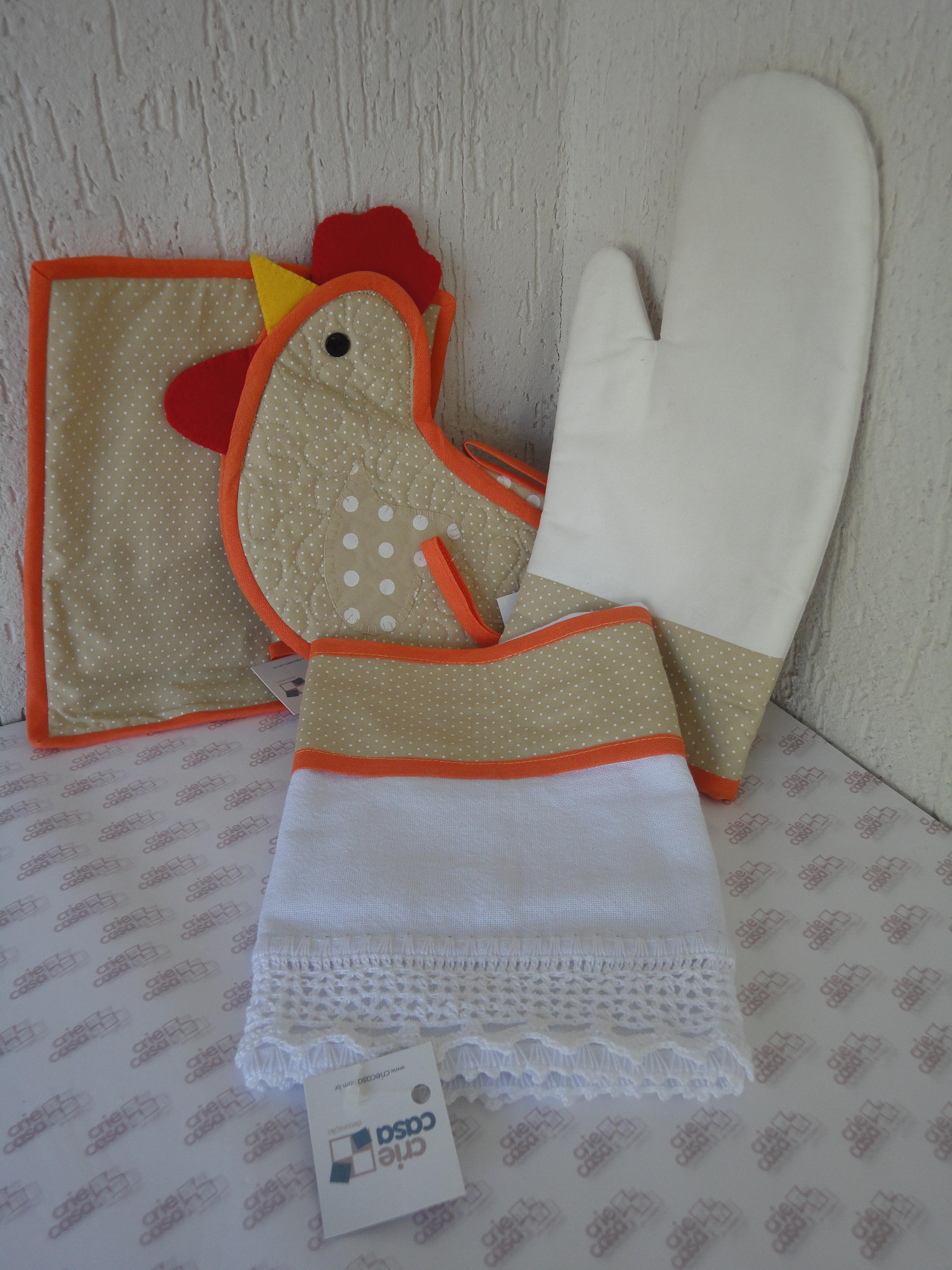 kit decoracao cozinha:Kit Cozinha Patchwork Galinha Poá