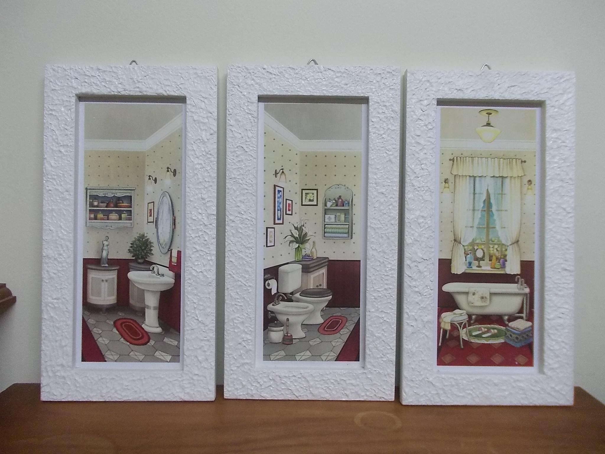 Quadro decorativo para banheiro Luz de Cera Artesanato Elo7 #684634 2048x1536 Acessorios De Banheiro Onde Comprar