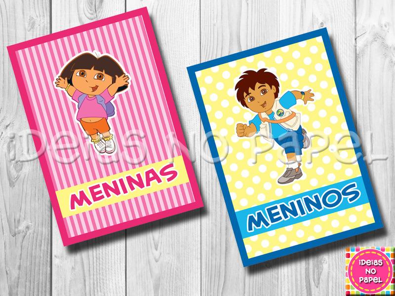 Cartazes P Banheiros Dora e Diego  Elo7 -> Cartazes Banheiro Feminino