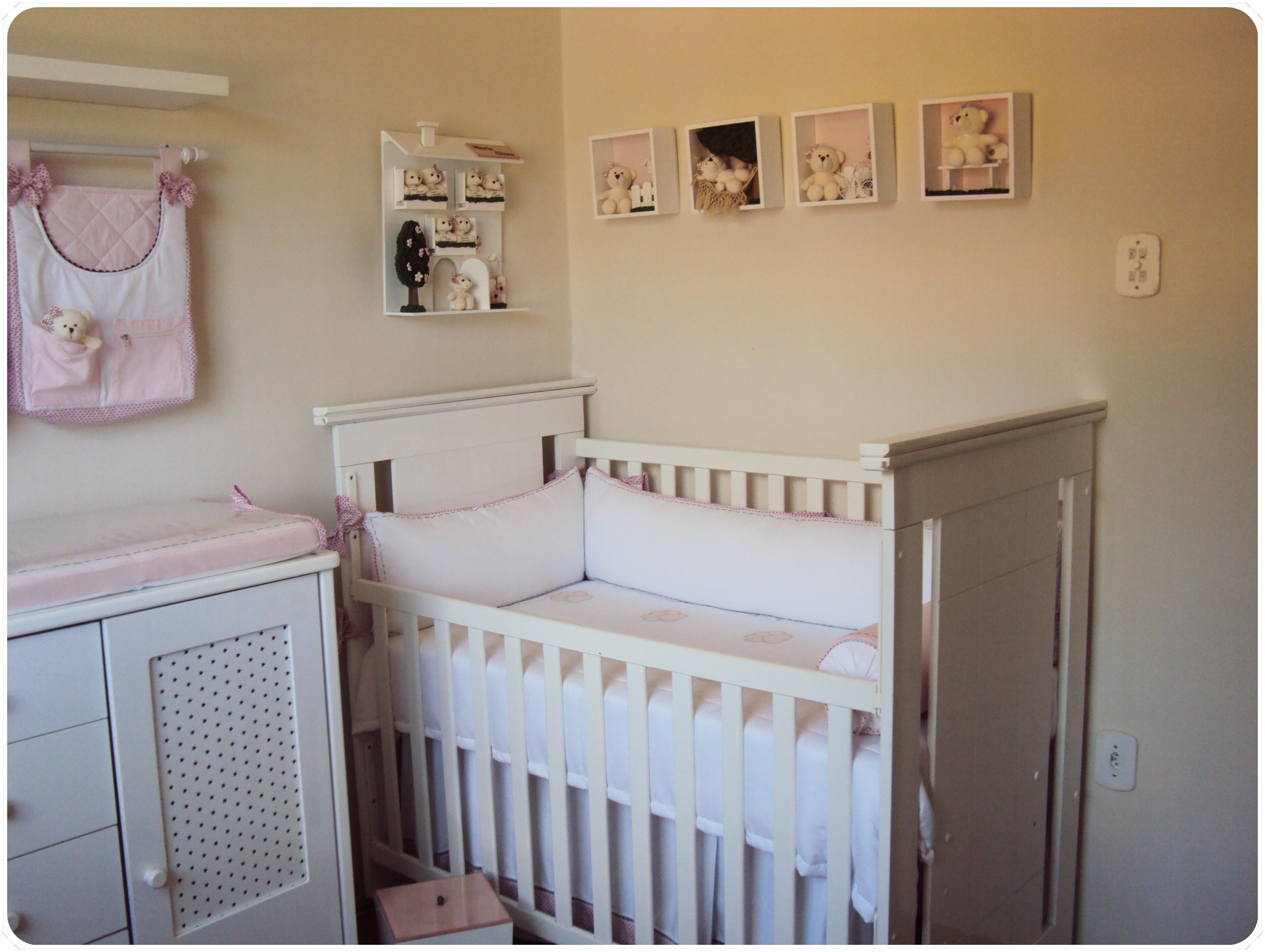 quarto de bebê ursinha rosa e marrom Mabless Elo7 ~ Quarto Rosa E Azul