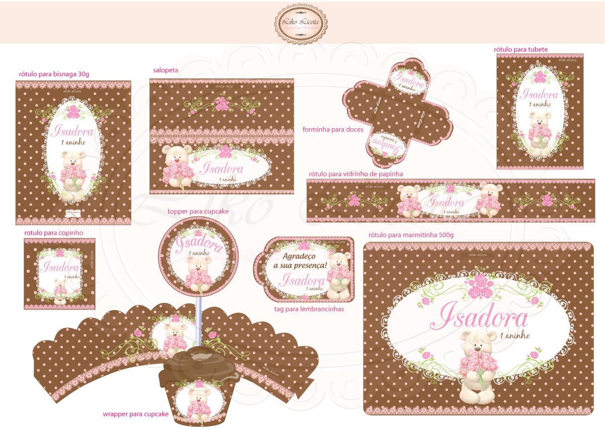 Rótulos ursinha marrom com rosa | Liko Licota | Elo7