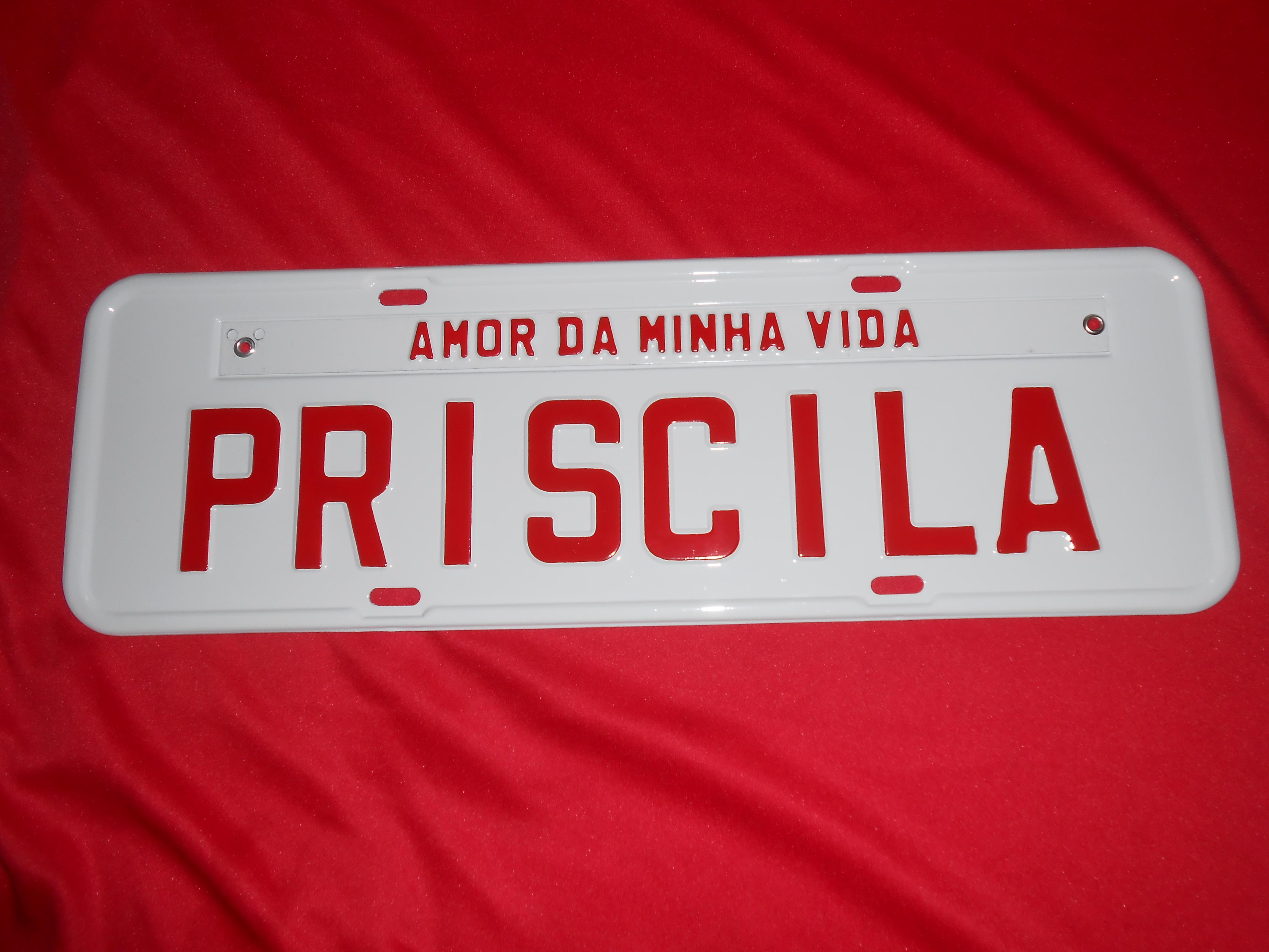 PLACA AMOR DA MINHA VIDA - PRISCILA