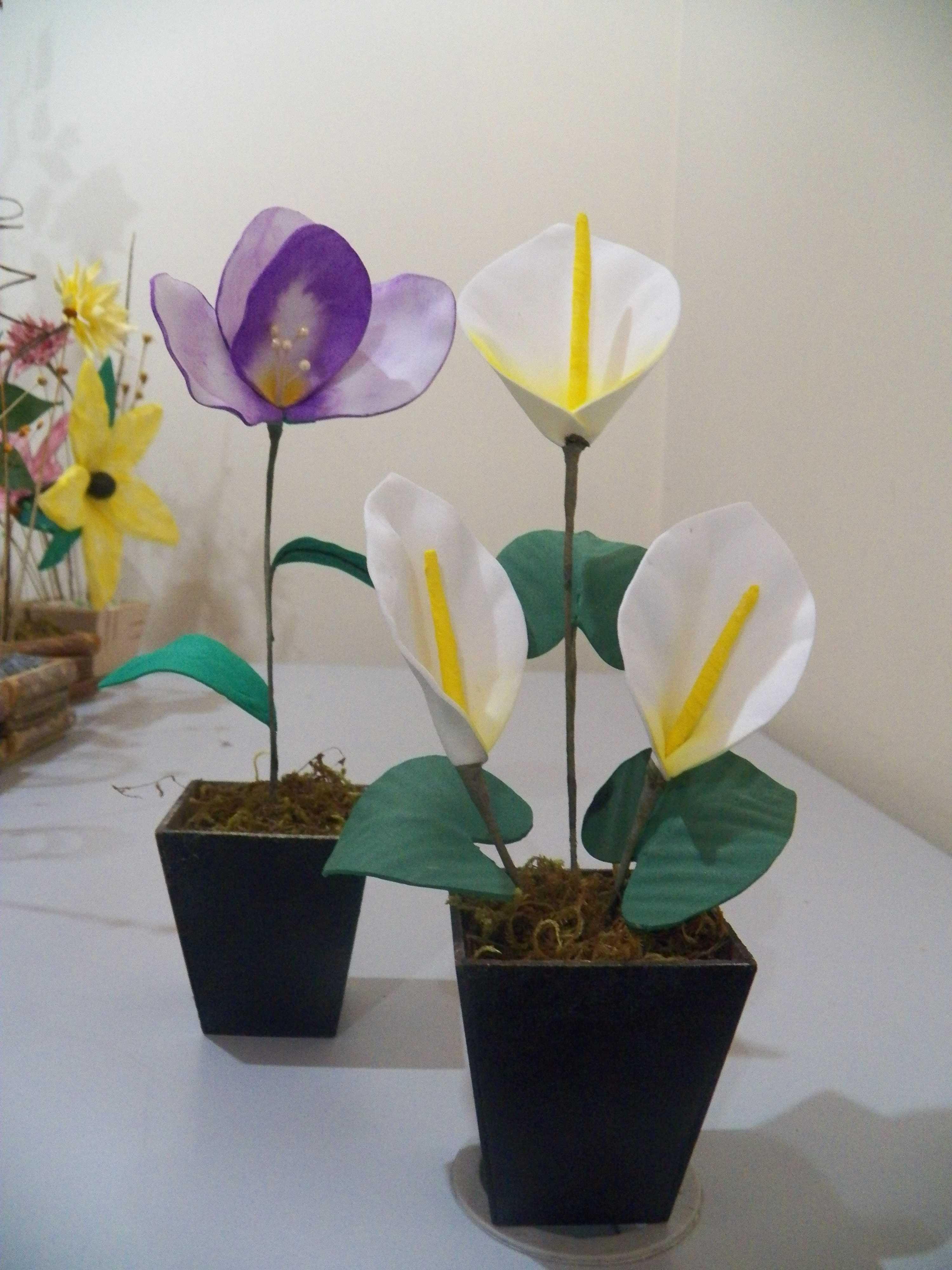Enfeite De Eva ~ Vaso pequeno de flores em e v a MARY ARTS ANGEL Elo7