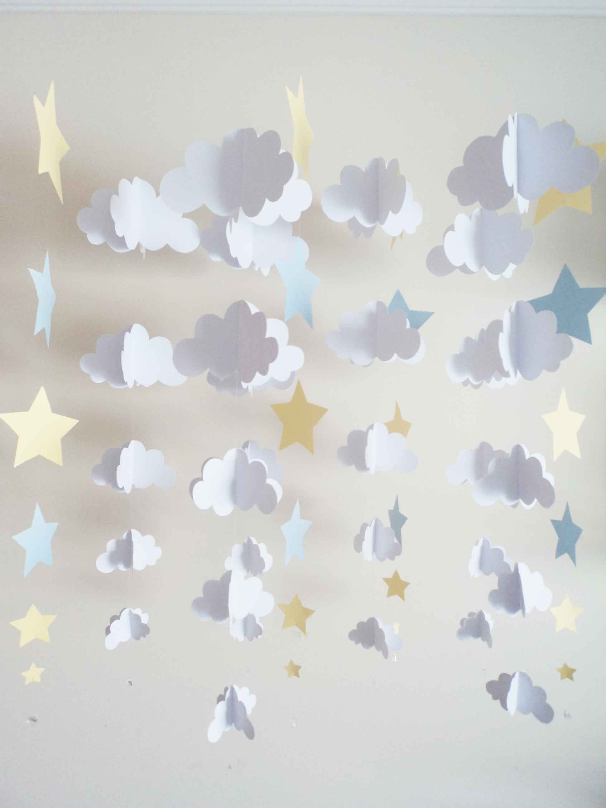 ... 12 Fios - Nuvens 3D e estrelas Kit 12 Fios - Nuvens 3D e estrelas