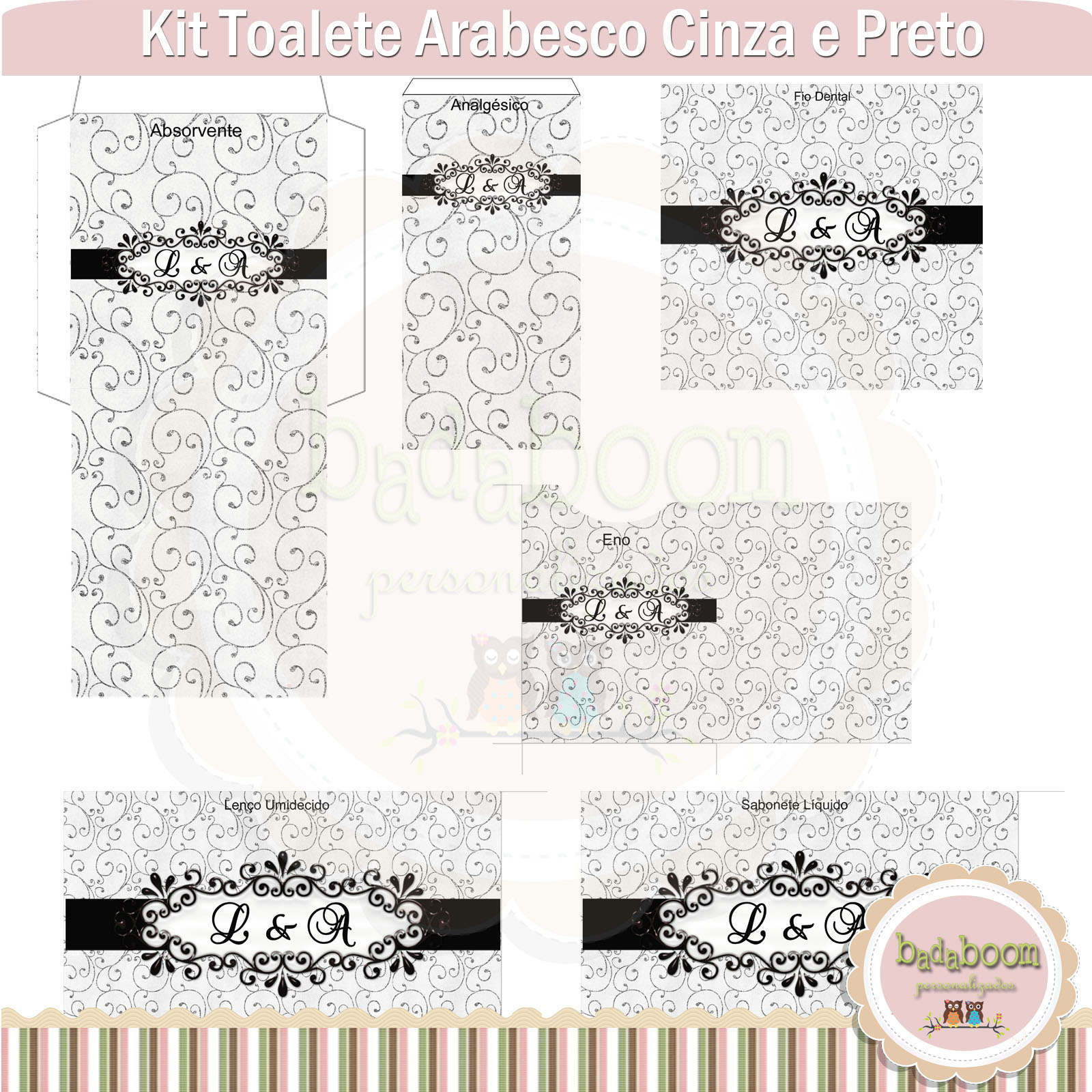 Kit Toalete Rosa E Preto Pictures to pin on Pinterest #208CAB 1600x1600 Banheiro Cinza Com Preto