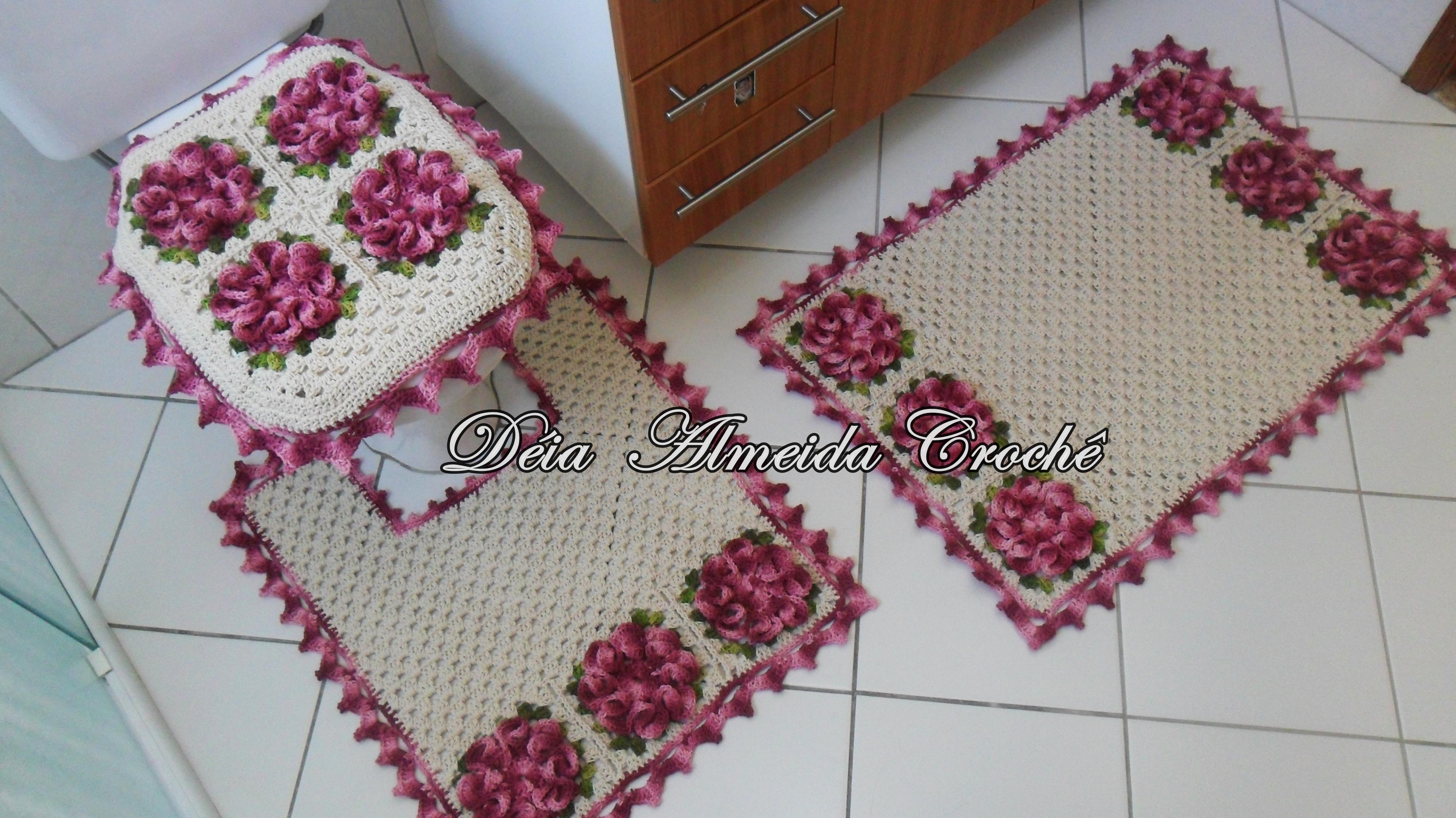 Jogo De Banheiro Flor Camélia  Déia Almeida Crochê  Elo7 -> Jogo De Banheiro Simples Em Croche