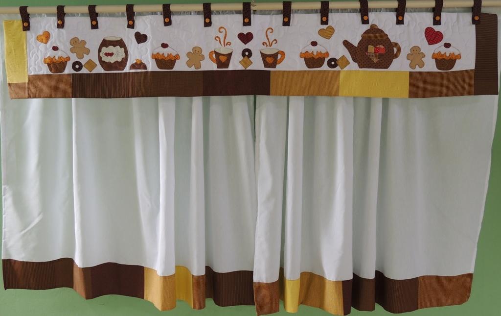 cortina para cozinha Patchwork marrom
