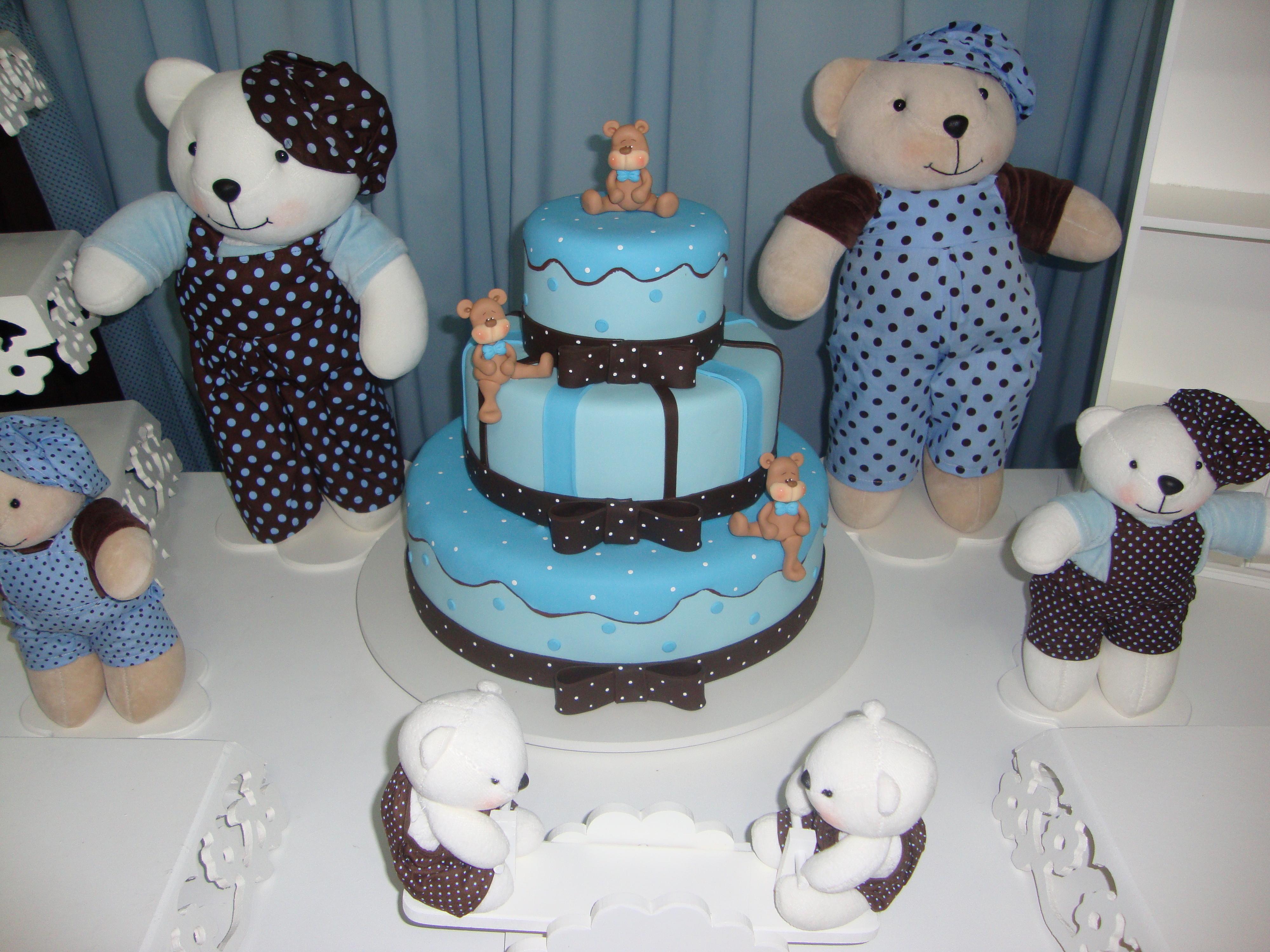 decoracao festa urso azul e marrom: Clean Urso Marrom e Azul