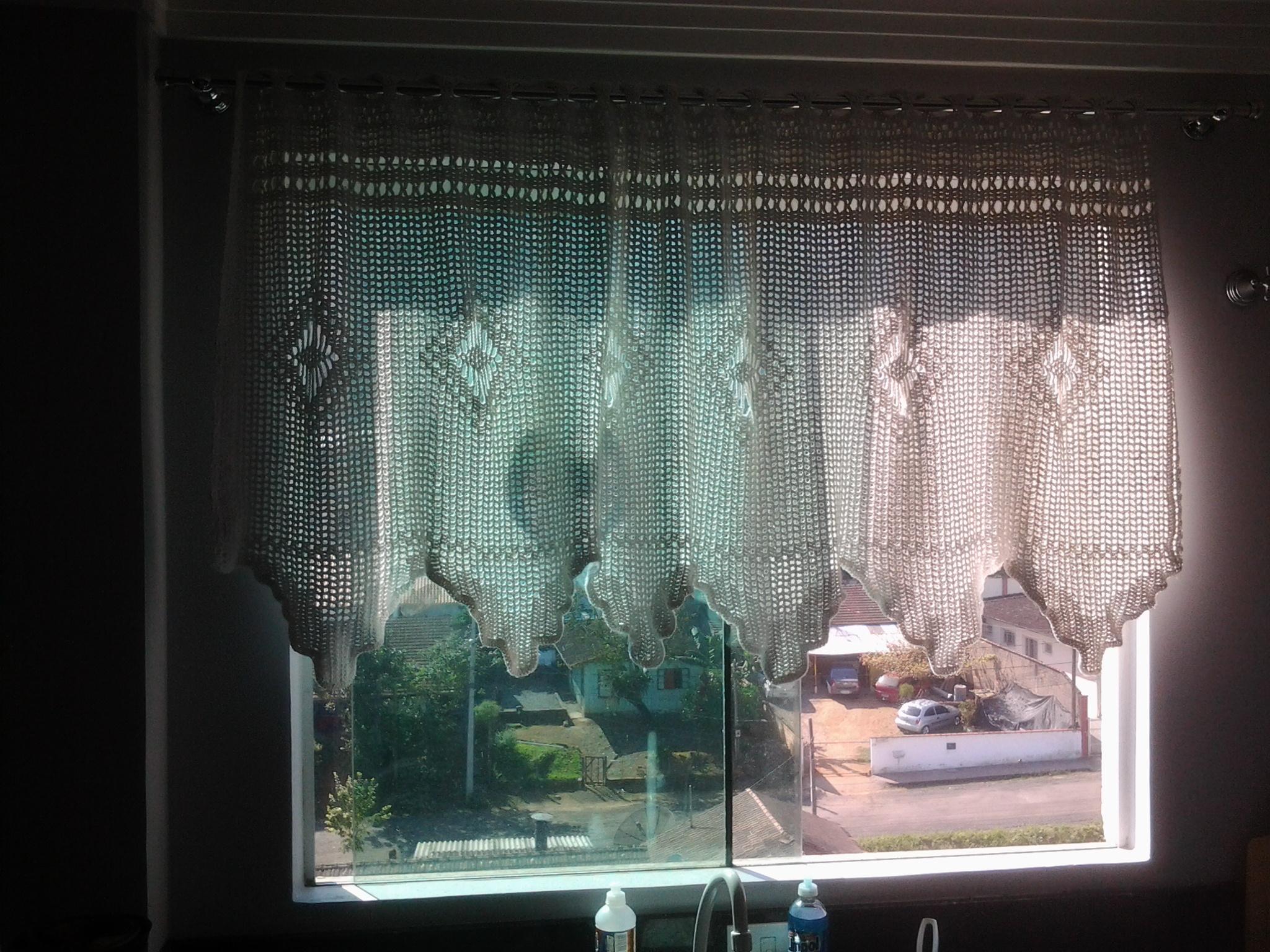 Cortina de crochê altura meia janela Sonho de Casa Elo7 #795E52 2048 1536