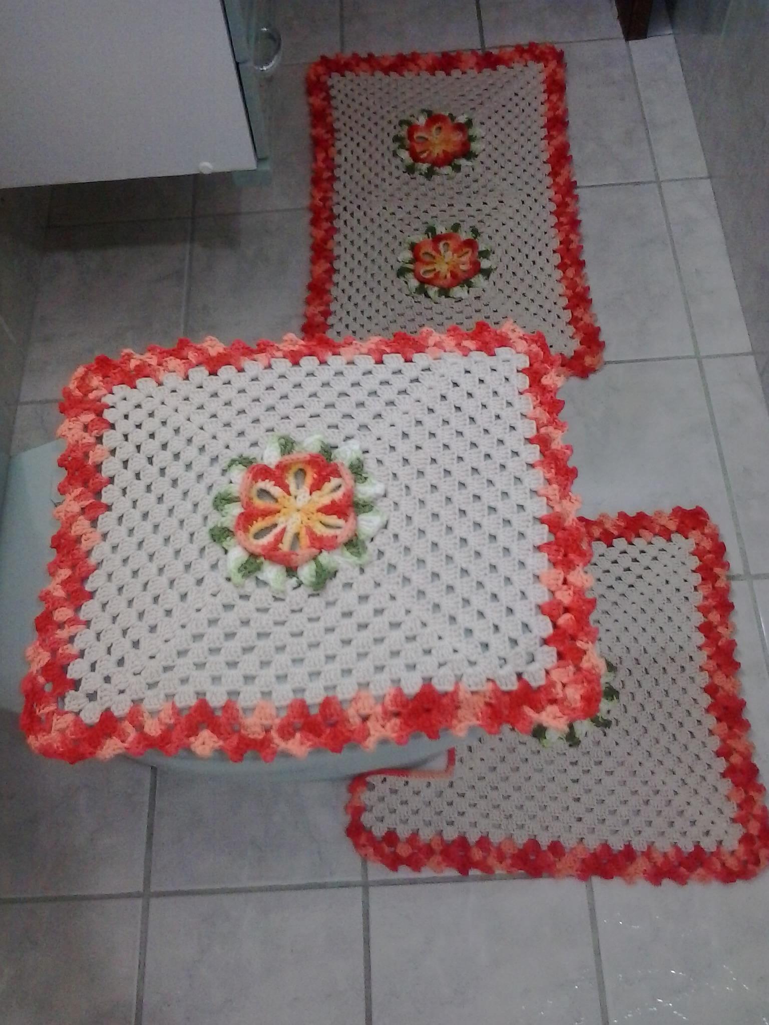 Tapete Floral Para Banheiro : jogo de banheiro flor do caribe tapetes de barbante jogo de banheiro