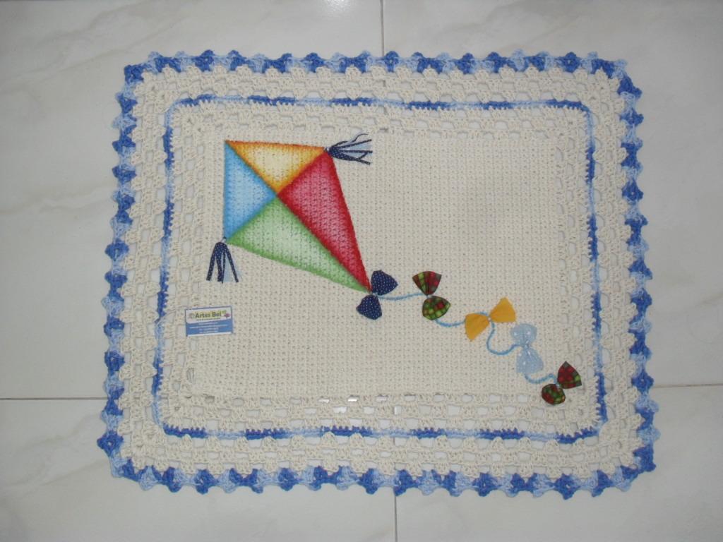 Arte Em Tapete De Barbante : Tapete em Croch? com Pintura Manual. Elo7