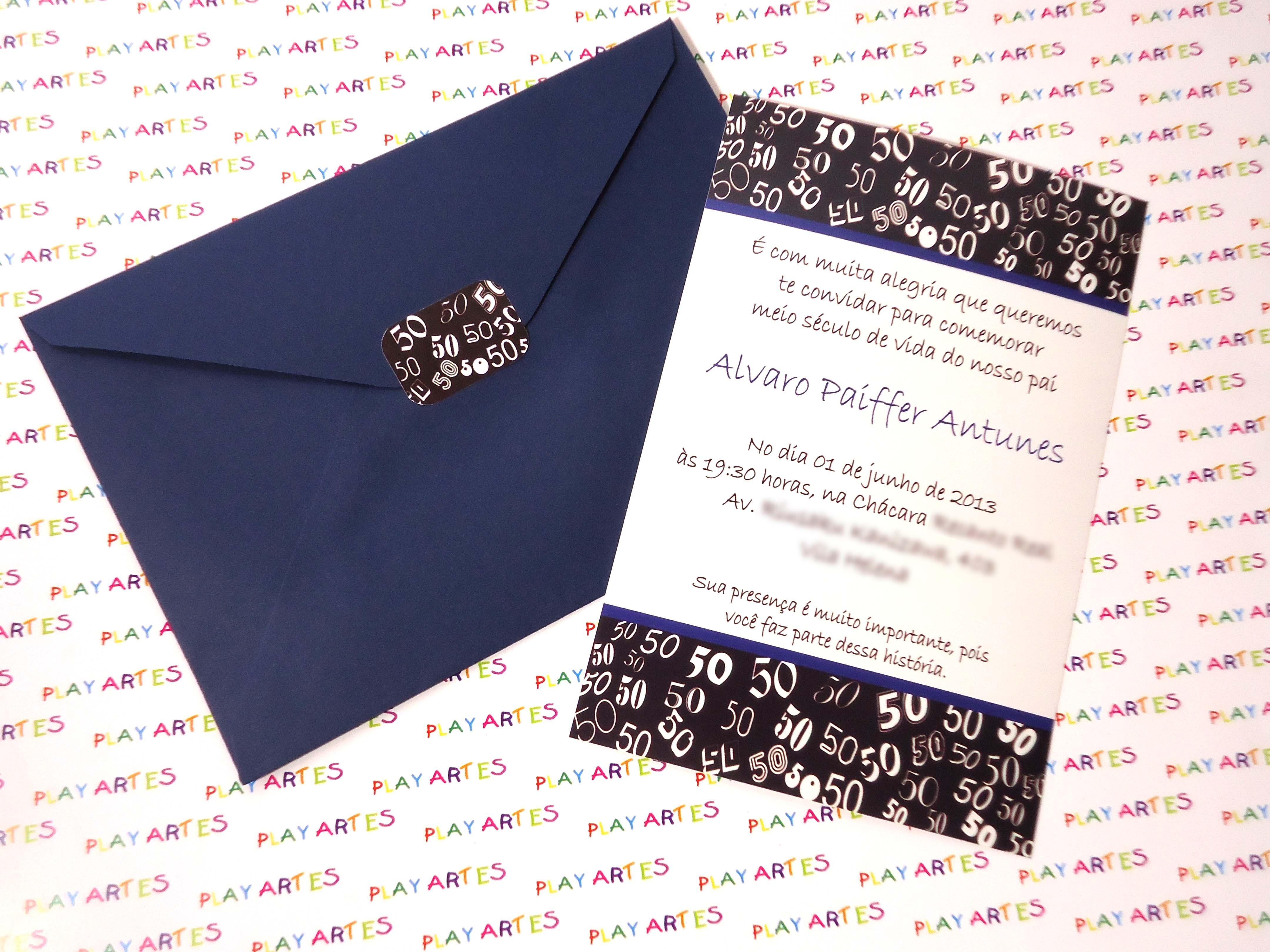 Convite de Aniversario 50 Anos Feminino Convite de 50 Anos | Elo7