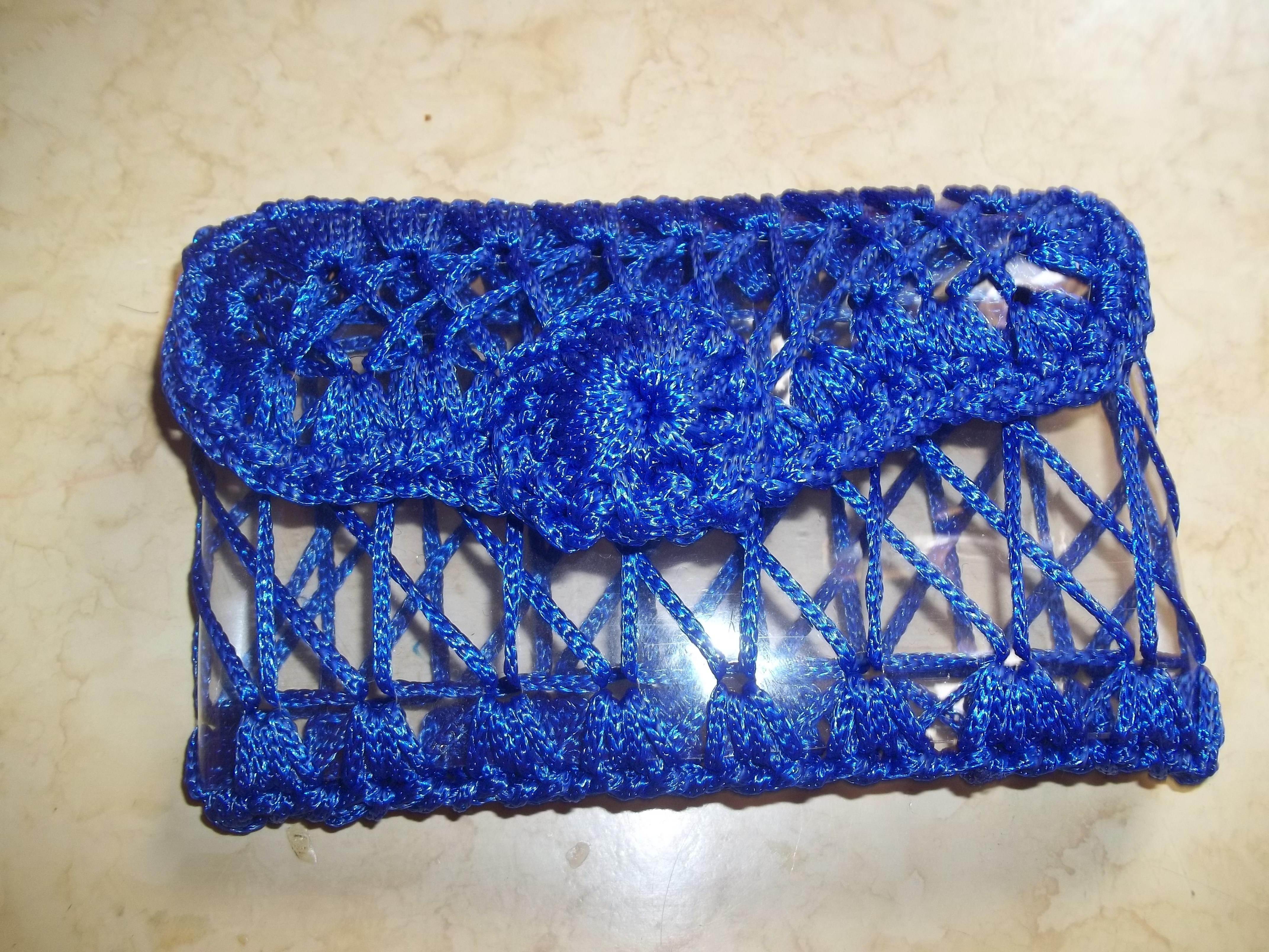 Bolsa De Mão Feita De Croche : Carteira de pet com croch? azul art e cor elo