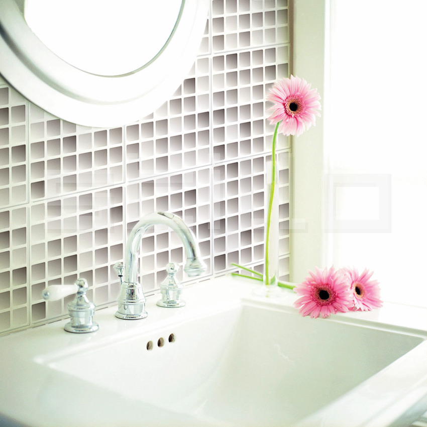 Azulejo Pastilhas Bege 3d 3 Pc Azulejo Adesivo Azulejo Pastilhas Pictures to  -> Banheiro Decorado Com Adesivo De Azulejo