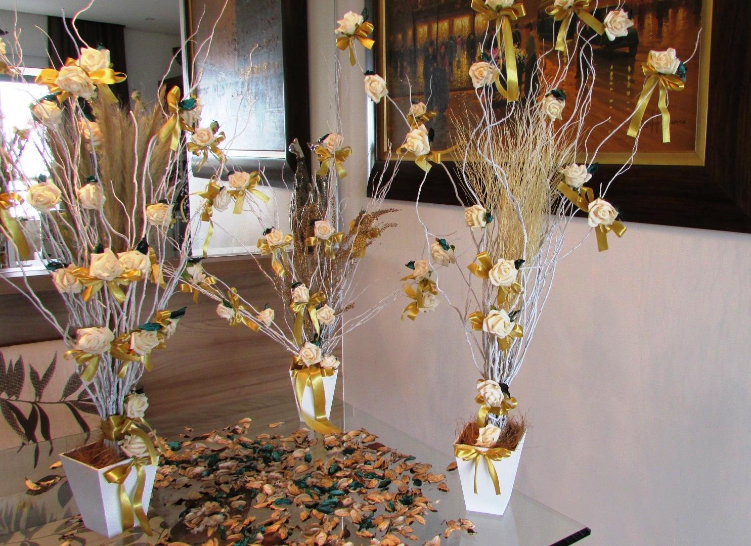 trabalhos manuais para decoracao de interiores : trabalhos manuais para decoracao de interiores:trio dourado de mini arvores francesas i fazendinha trio dourado de