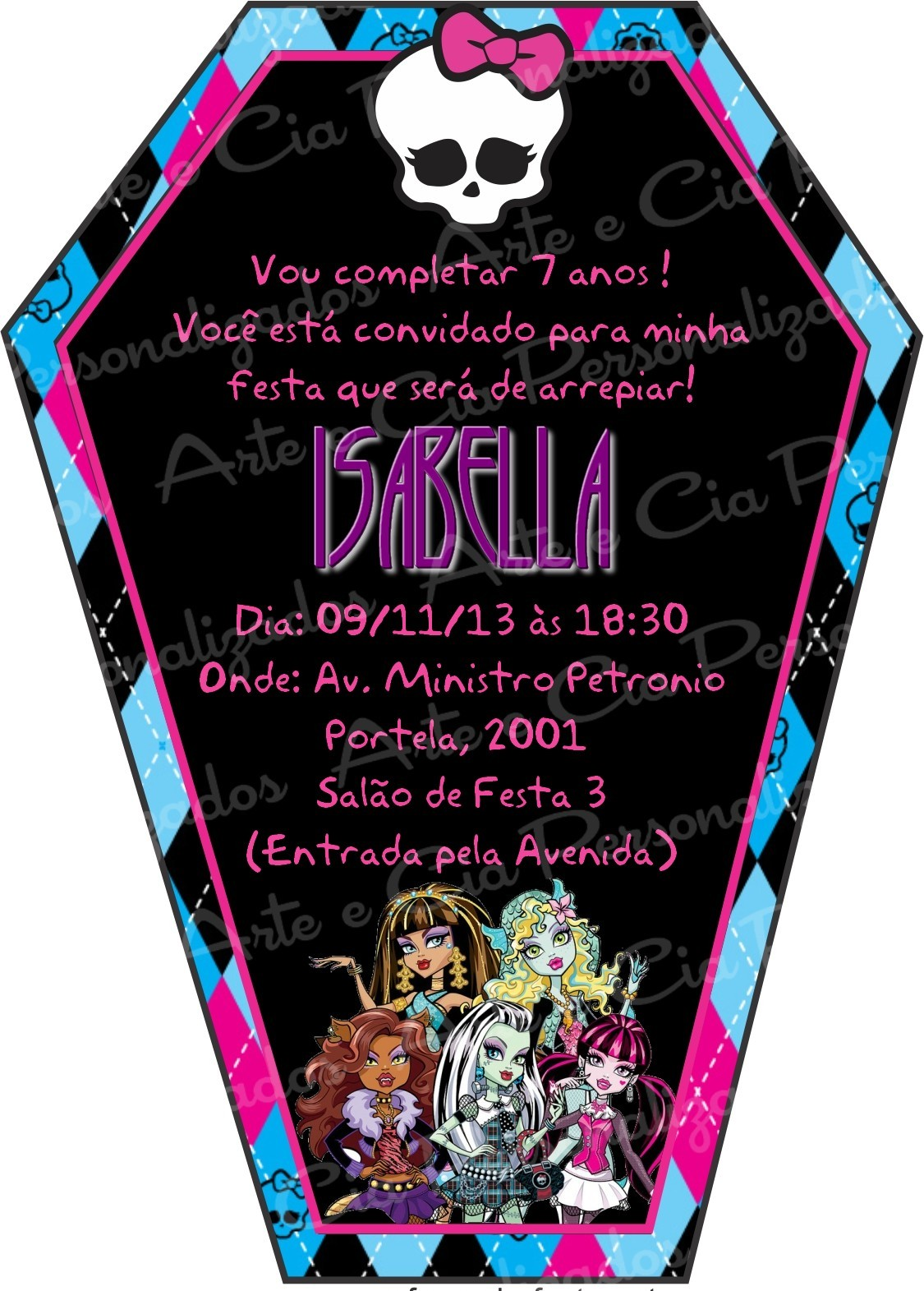 Monster High Free Invitation Template as beautiful invitations layout